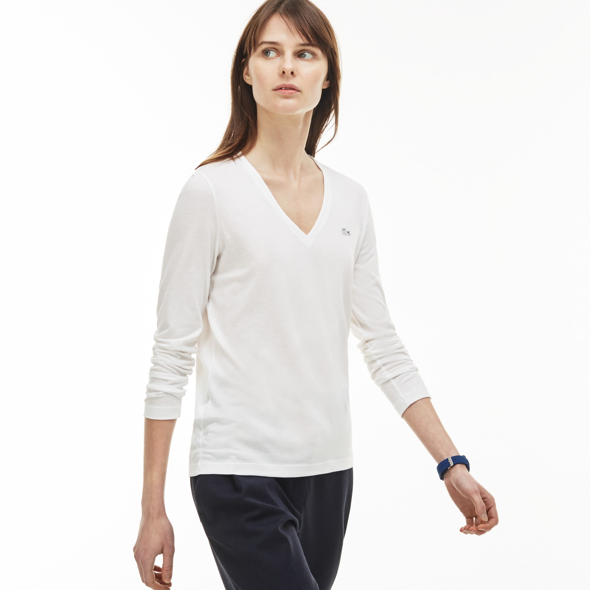 Women's V-neck Flowing Cotton Jersey T-shirt