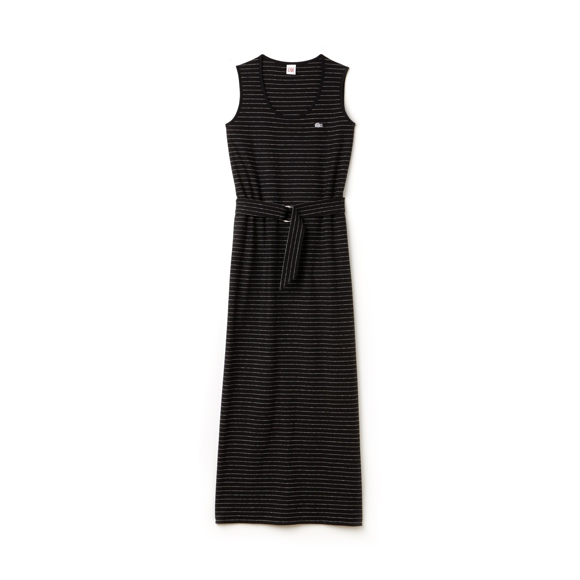 Women's Lacoste LIVE Long Belted Striped Jersey Dress