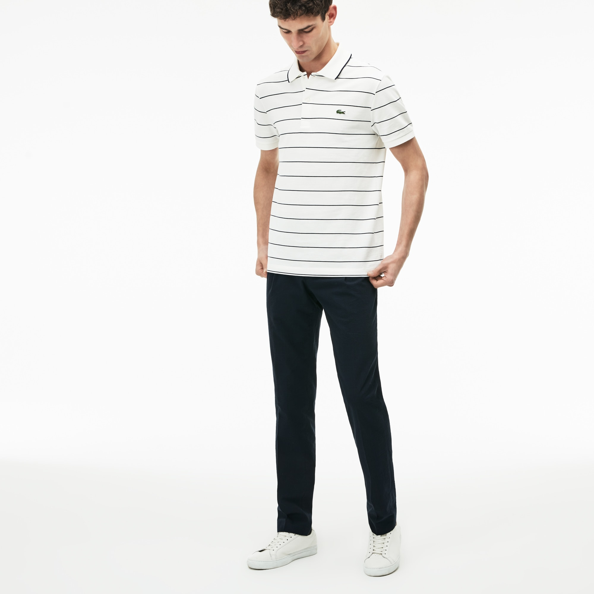 Men's Slim Fit Check Seersucker Pleated Chino Pants