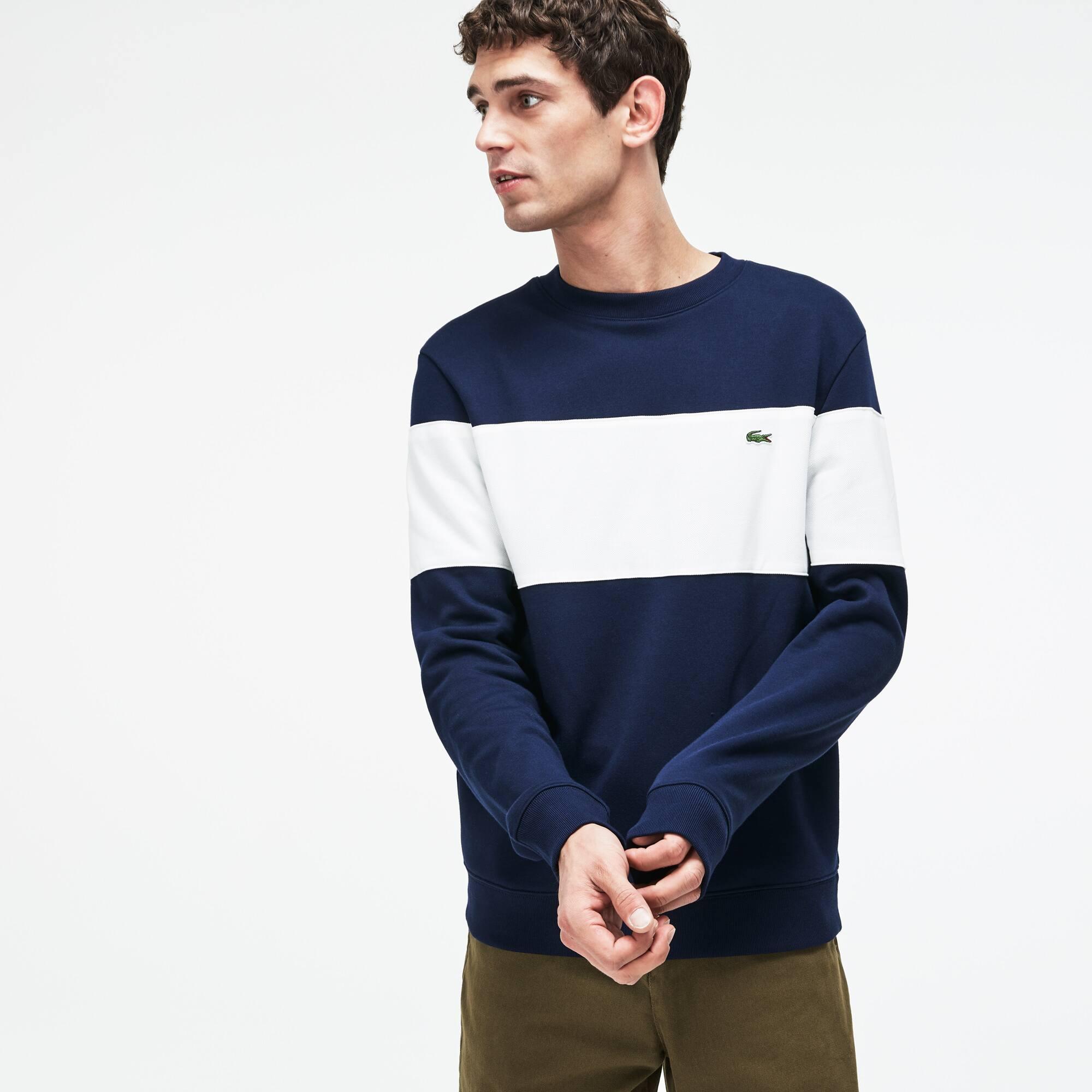 Men's Crew Neck Colorblock Cotton Fleece Sweatshirt