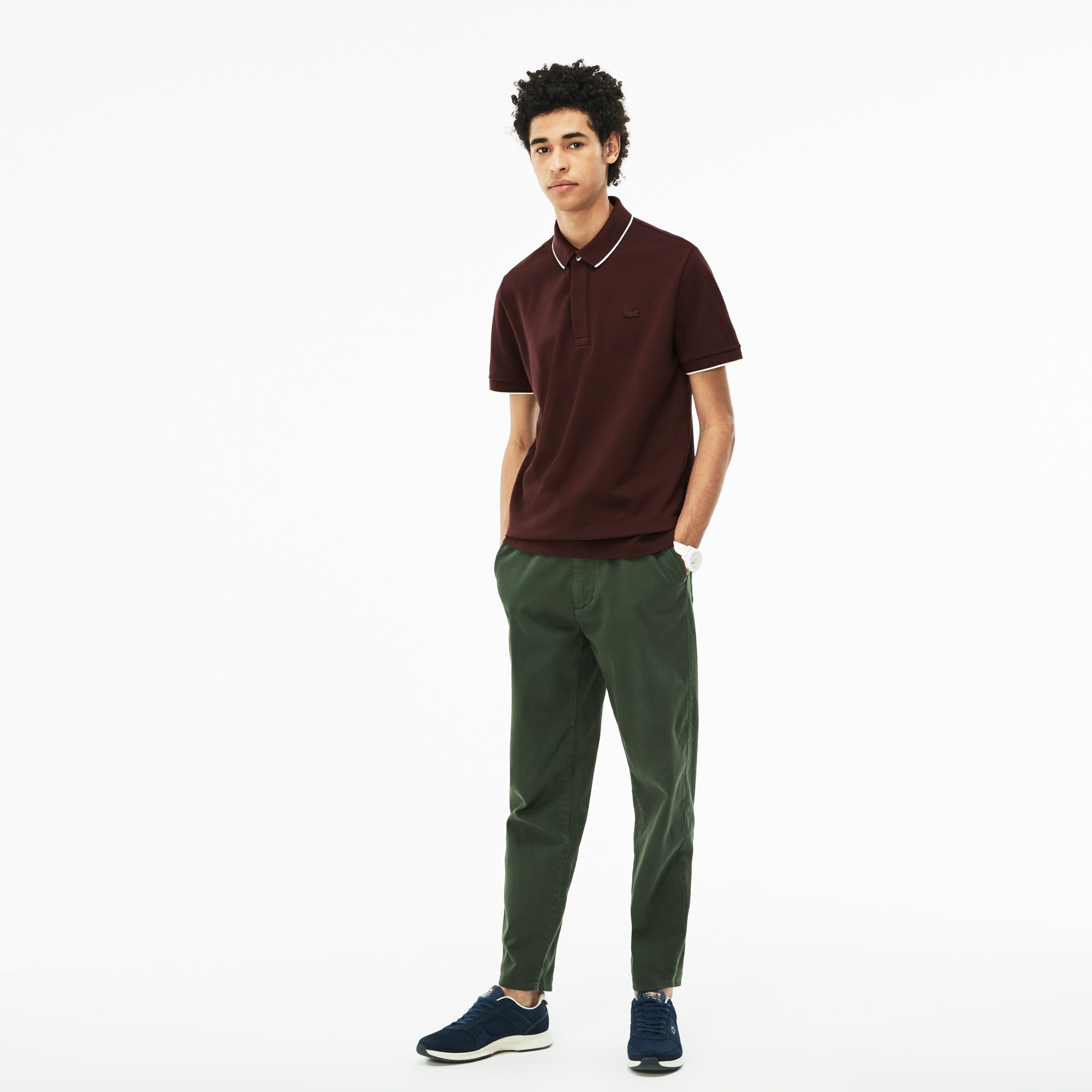 Men's Lacoste Regular Fit Piped Stretch Piqué Polo Shirt