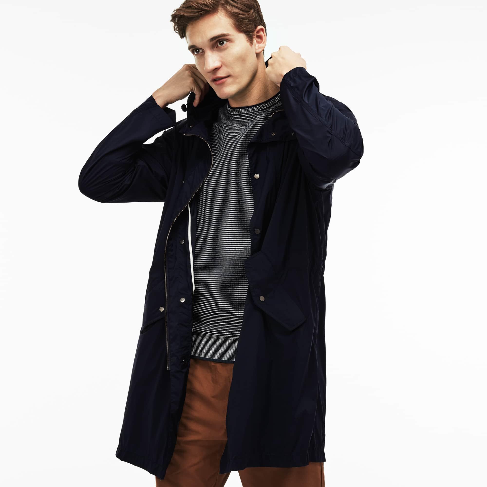 Men's Lacoste MOTION Long Hooded Unicolour Stretch Taffeta Windbreaker