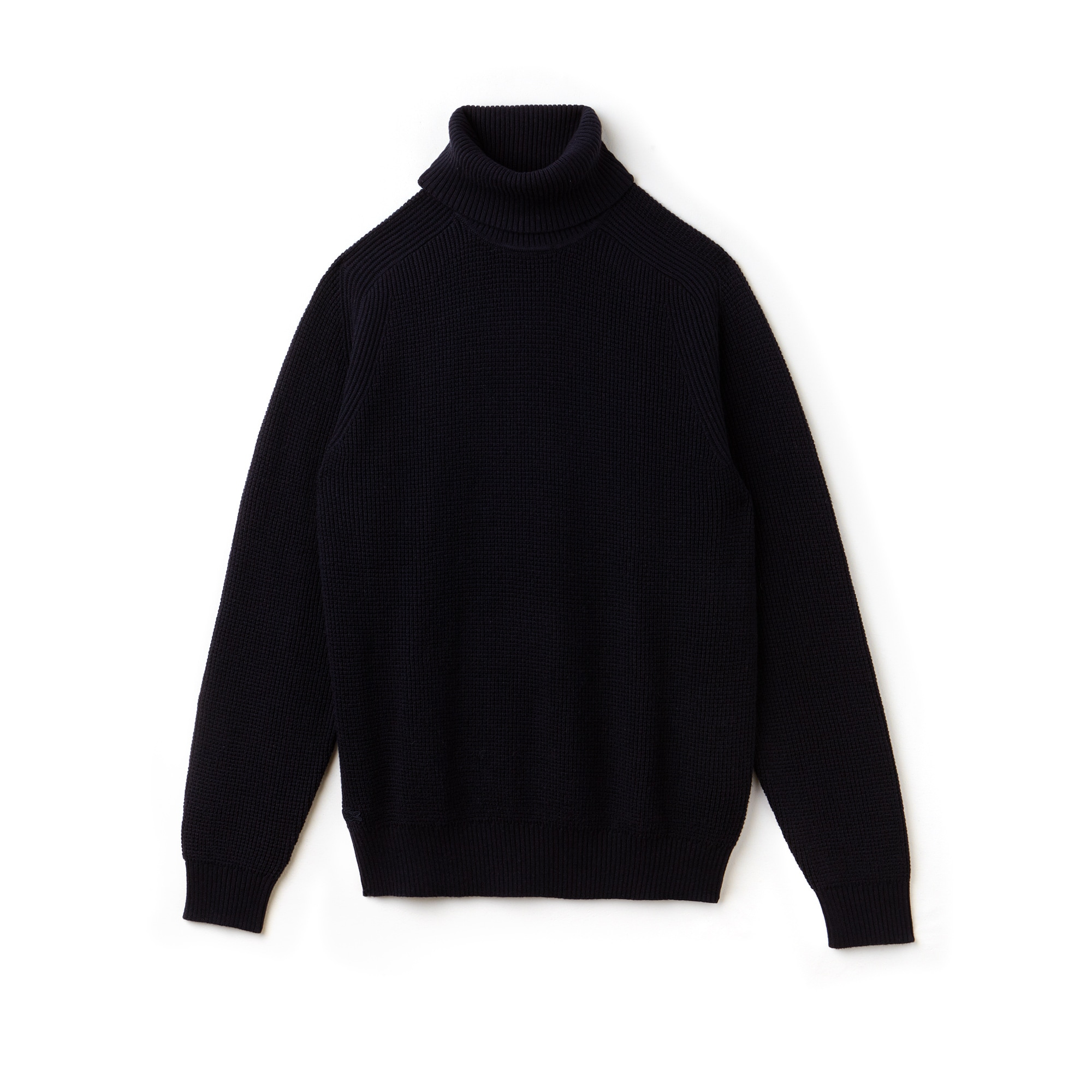 Men's Stand-Up Neck Honeycomb Wool And Cotton Sweater