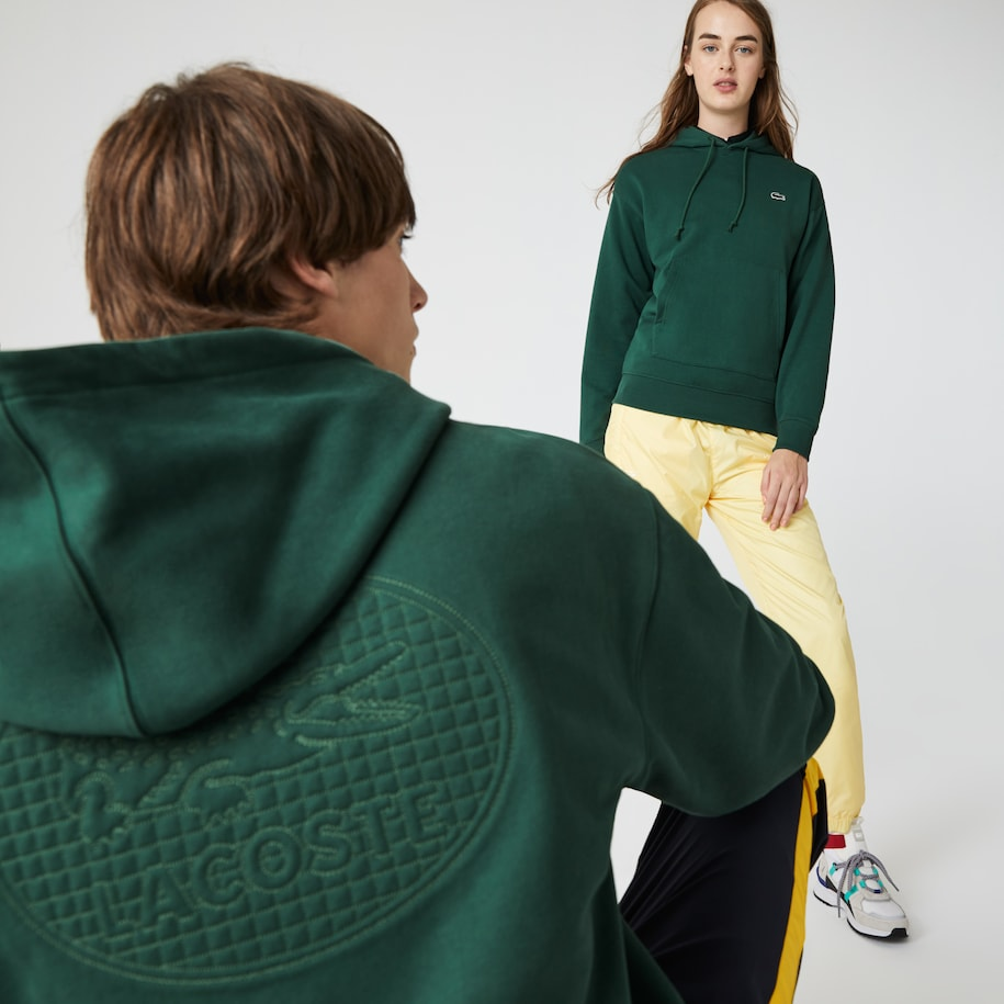Unisex Lacoste LIVE Loose Fit Hooded Cotton Fleece Sweatshirt