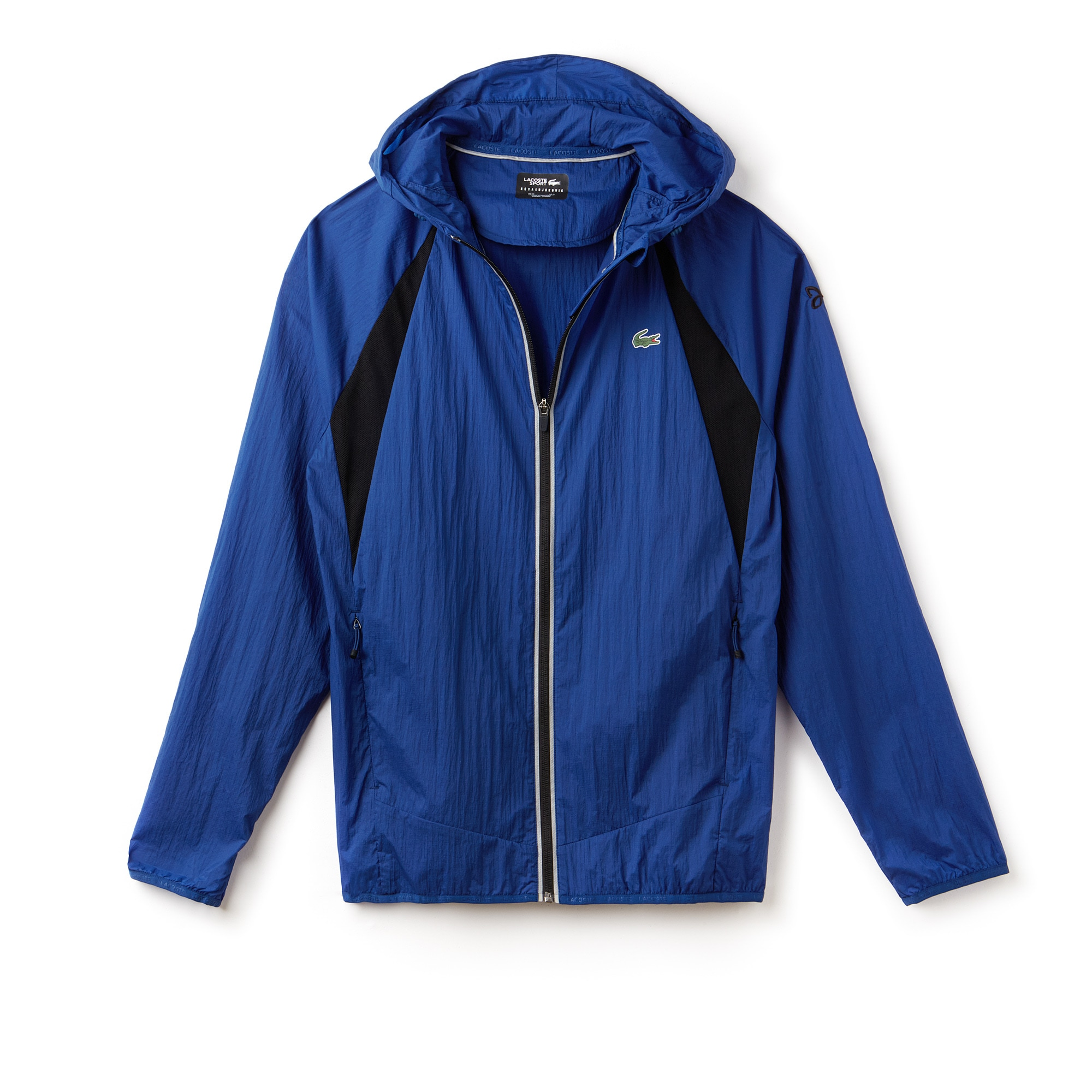 Men's Lacoste SPORT NOVAK DJOKOVIC SUPPORT WITH STYLE COLLECTION Hooded Mesh Panel Technical Jacket