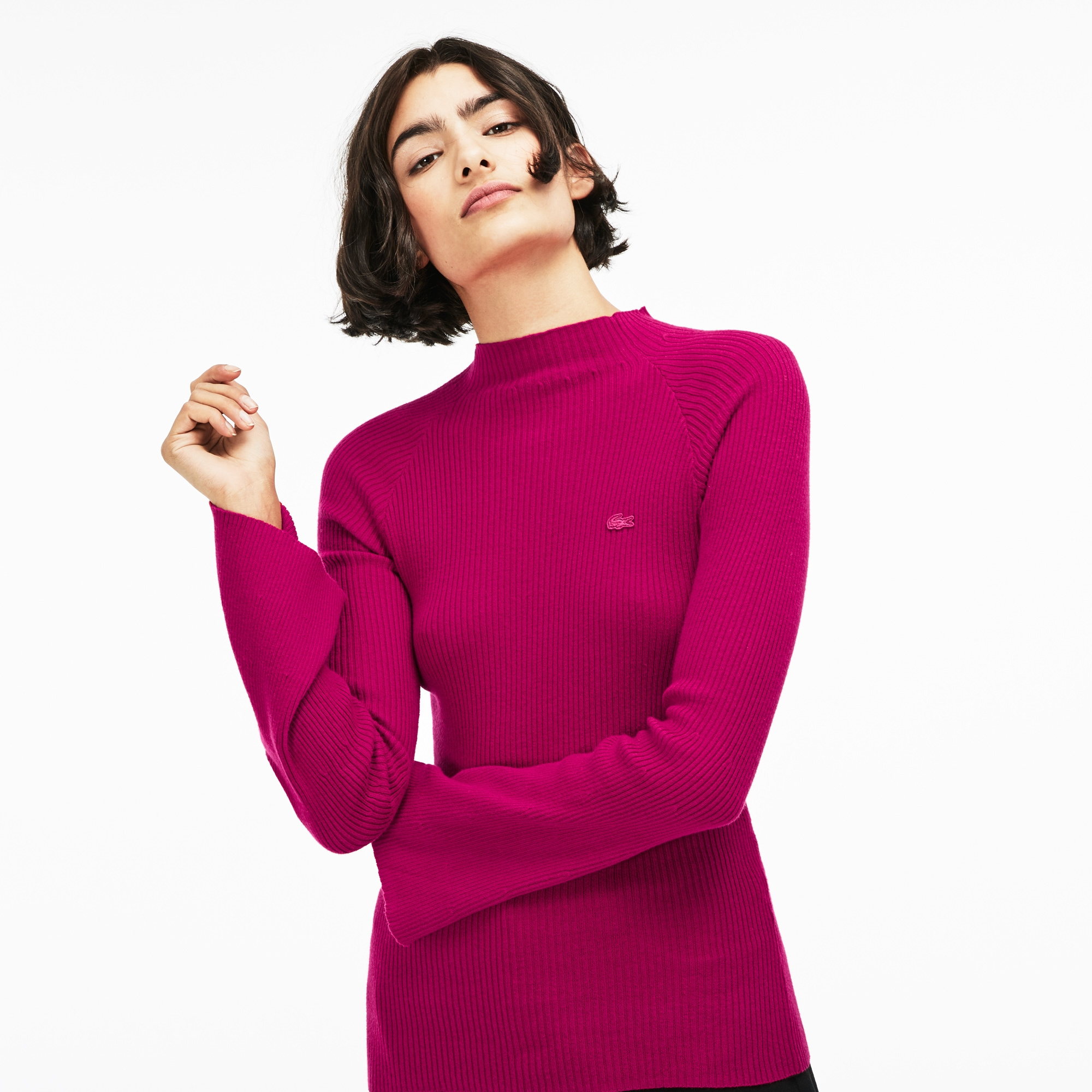 Women's Lacoste LIVE Ribbed Cotton And Cashmere Sweater