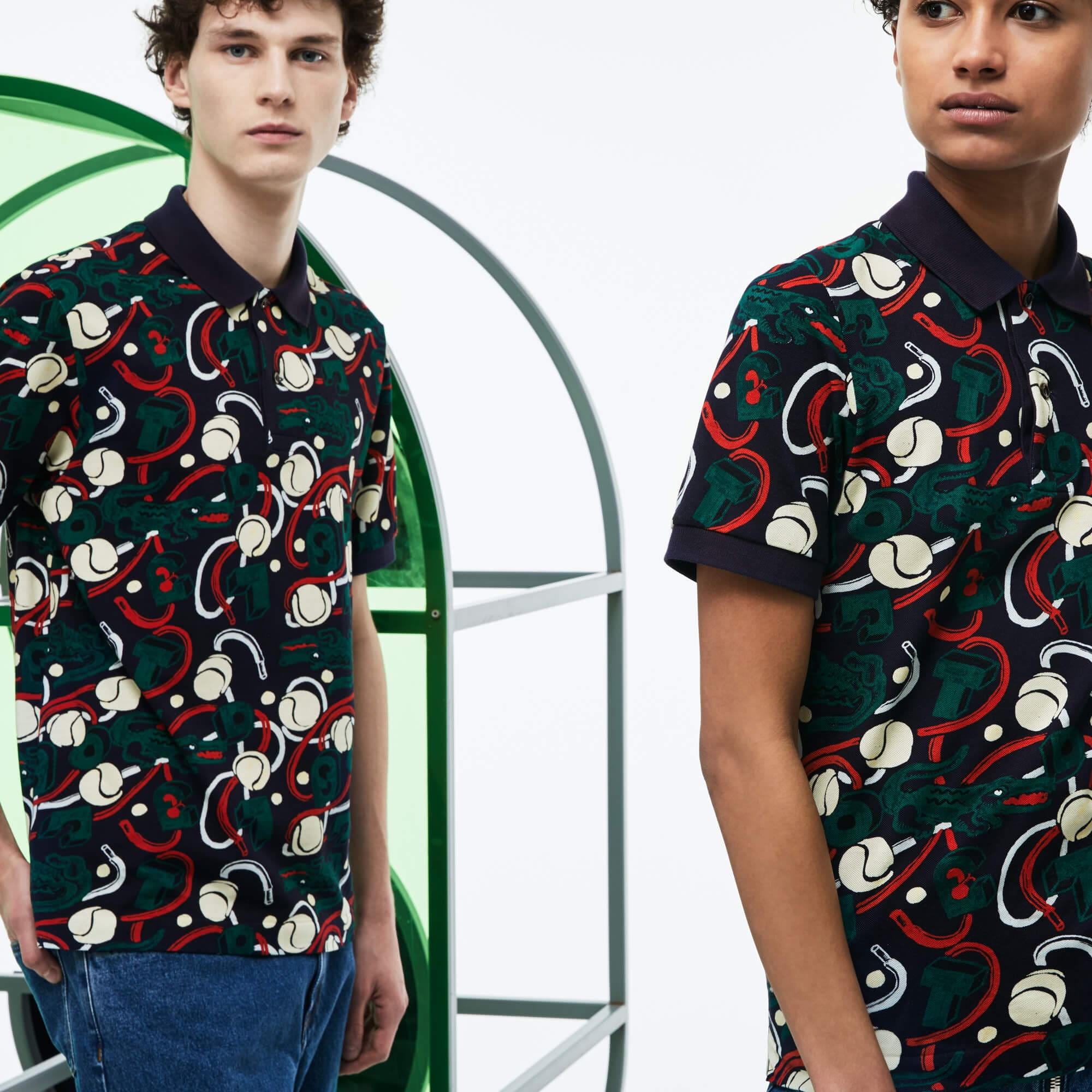 Unisex Lacoste Fashion Show MM Collab Print Piqué Polo Shirt