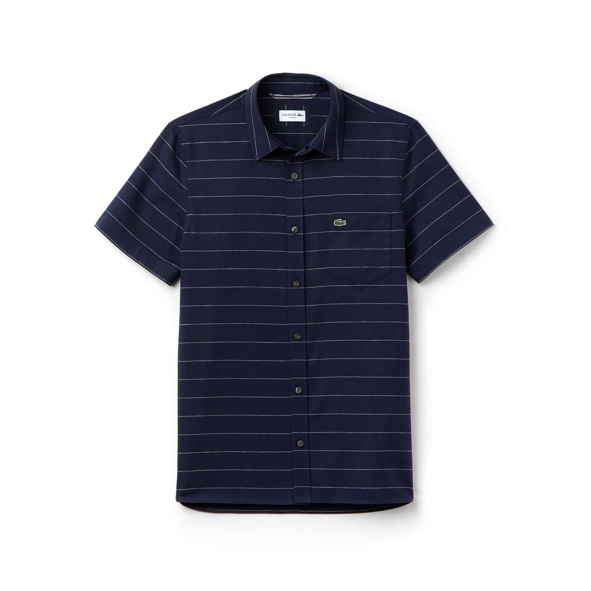 Men's Slim Fit Striped Oxford Cotton And Linen Shirt