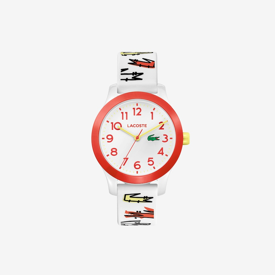 Kids Lacoste 12.12 Watch with White Printed Silicone Strap