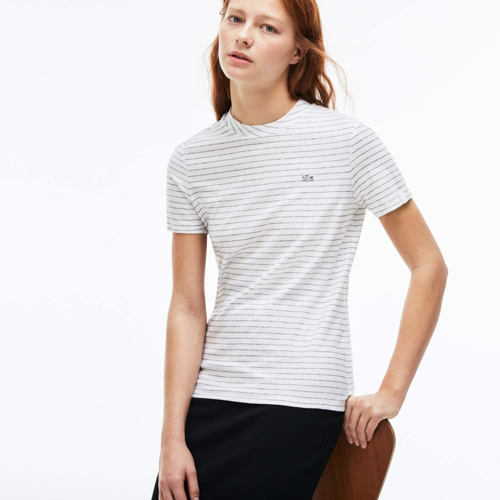 Women's Lacoste LIVE Crew Neck Striped Cotton And Linen T-shirt