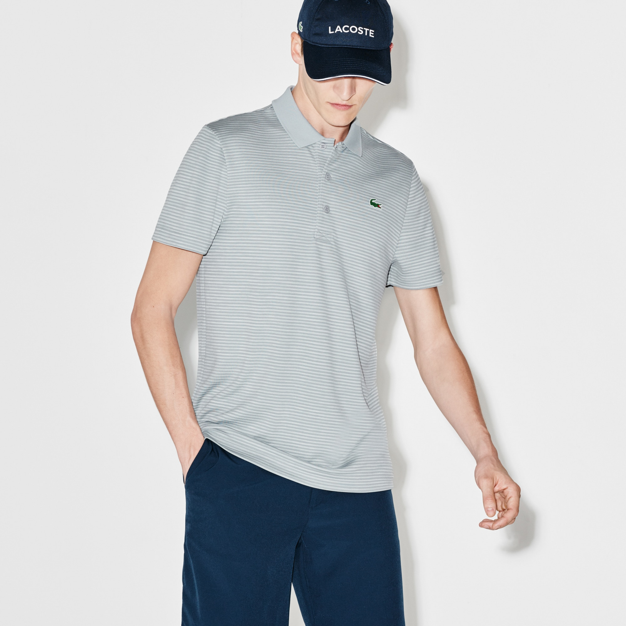 Men's Lacoste SPORT Golf Striped Tech Jersey Polo