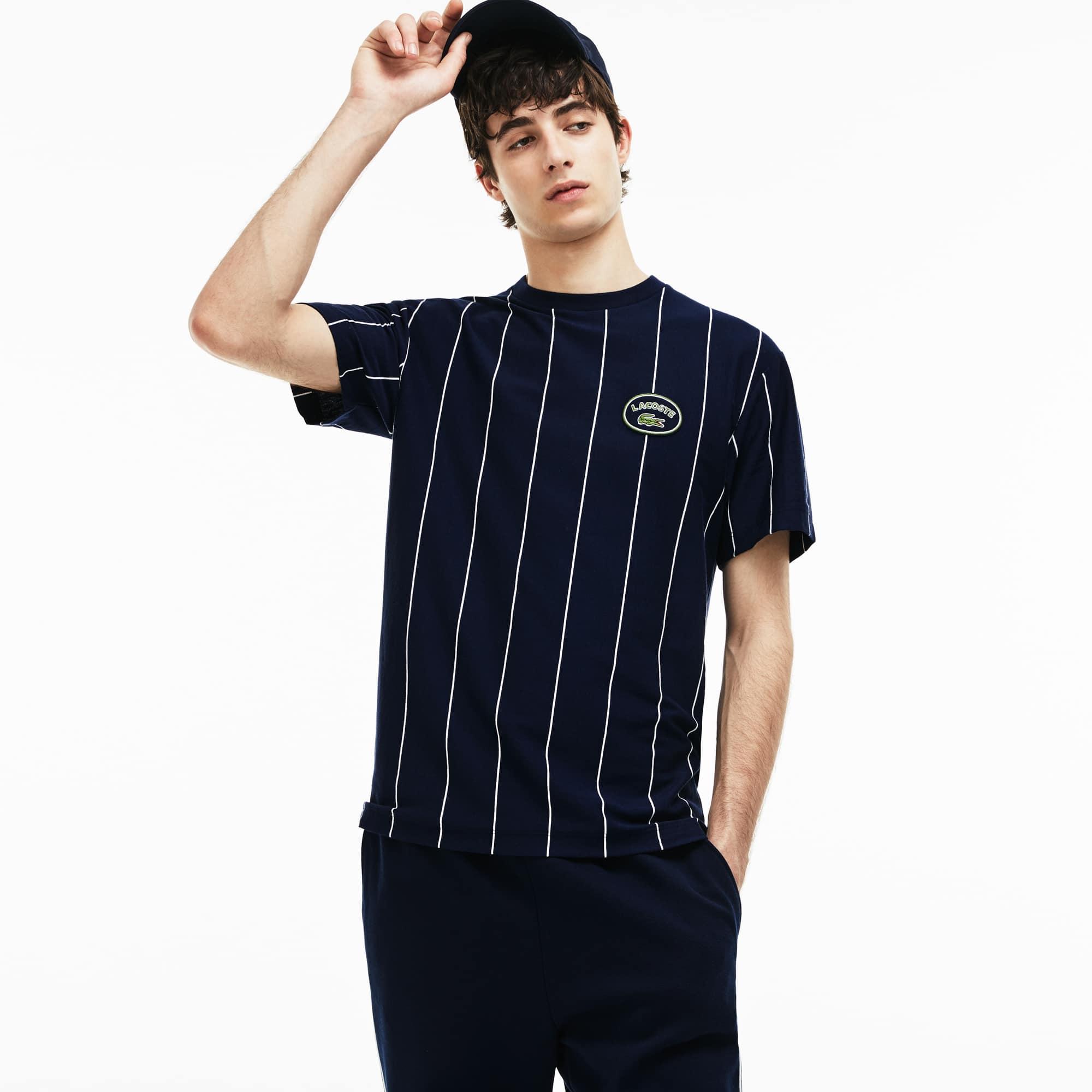 Men's Crew Neck Vertically Striped Cotton Jersey T-shirt