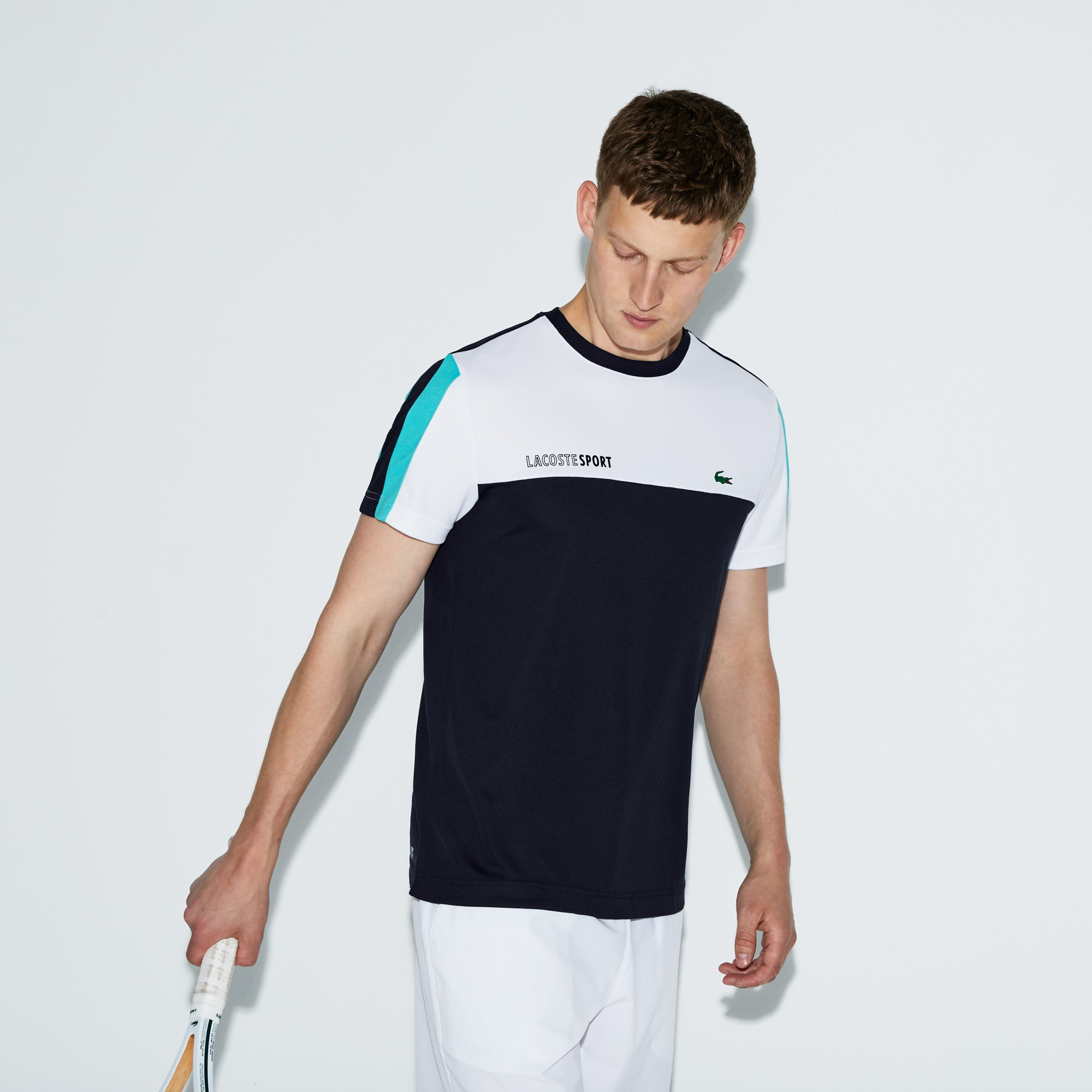 Men's Lacoste SPORT Crew Neck Colorblock Piqué Tennis T-shirt