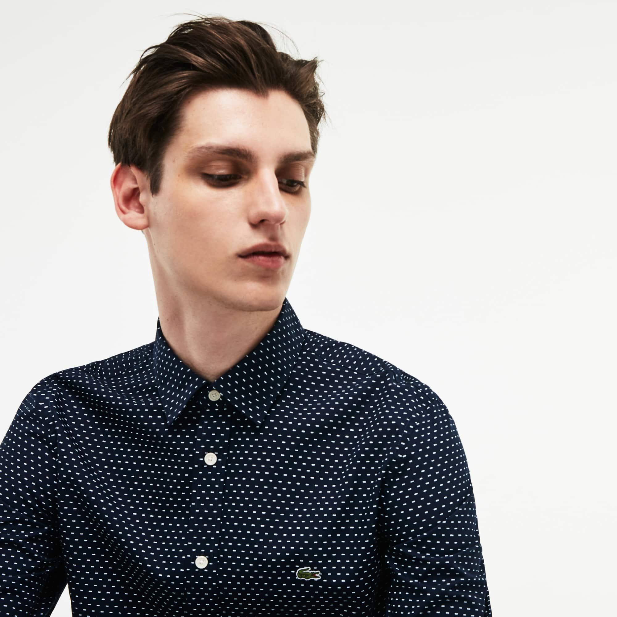 Men's Lacoste Motion Slim Fit Print Poplin Shirt
