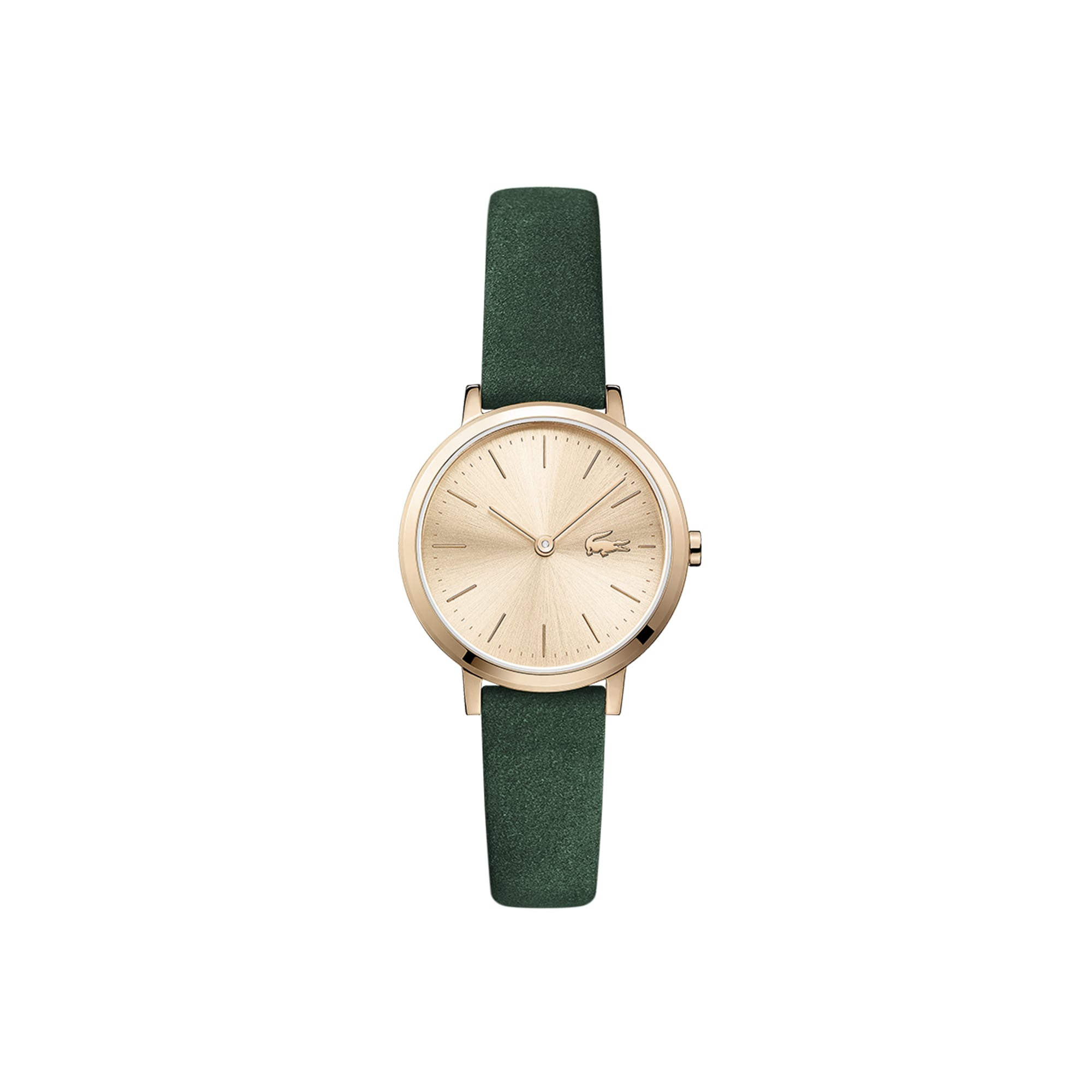 Women's Mini Moon Ultra Slim Watch with Green Suede Leather Strap