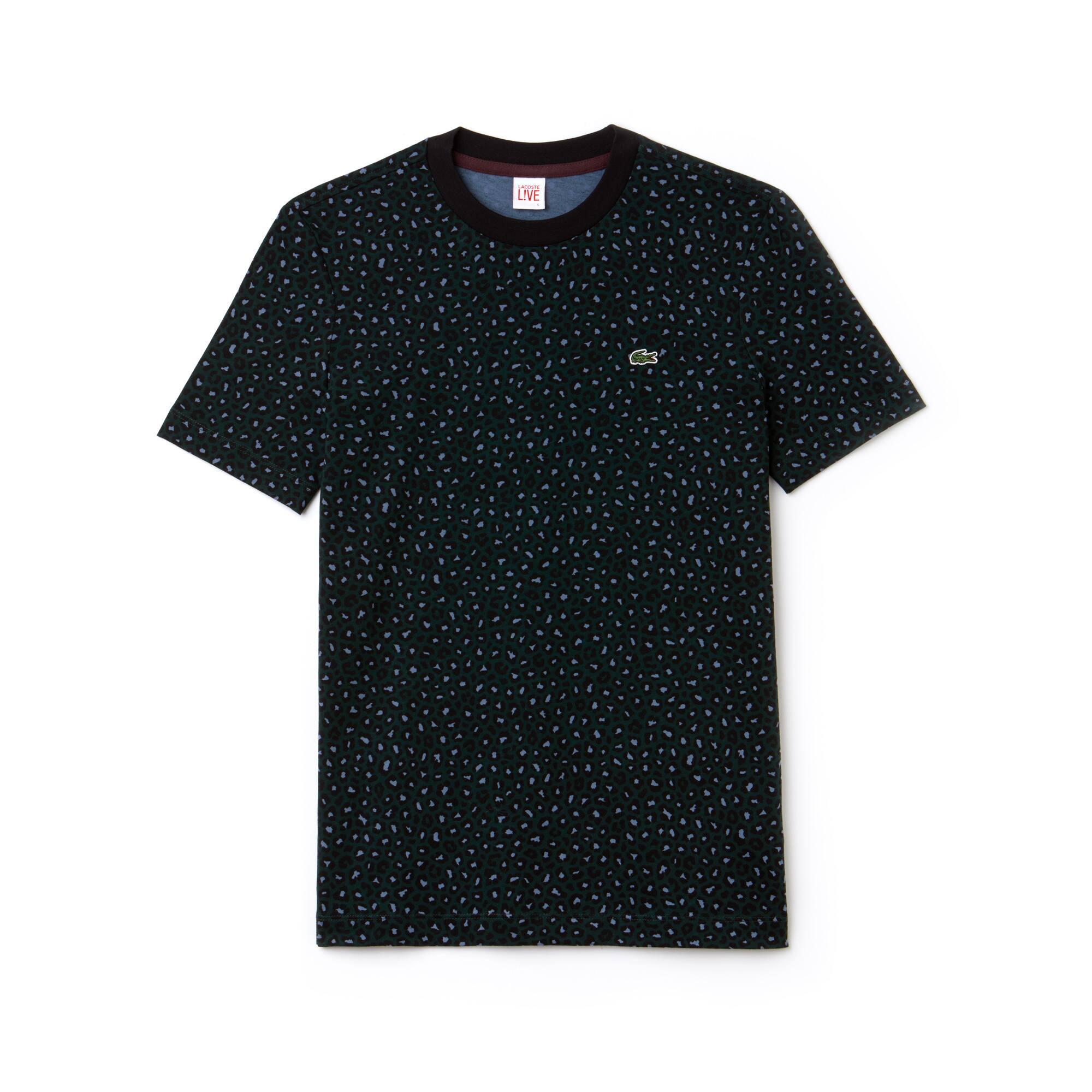 Men's Lacoste LIVE Crew Neck Leopard Print Jersey T-shirt