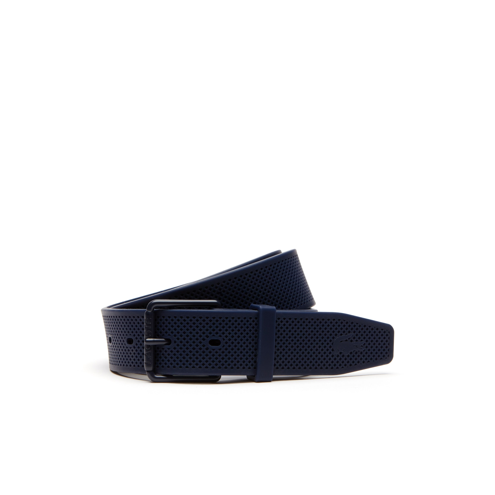 Men's Lacoste Engraved Rolling Tongue Buckle Silicone Belt