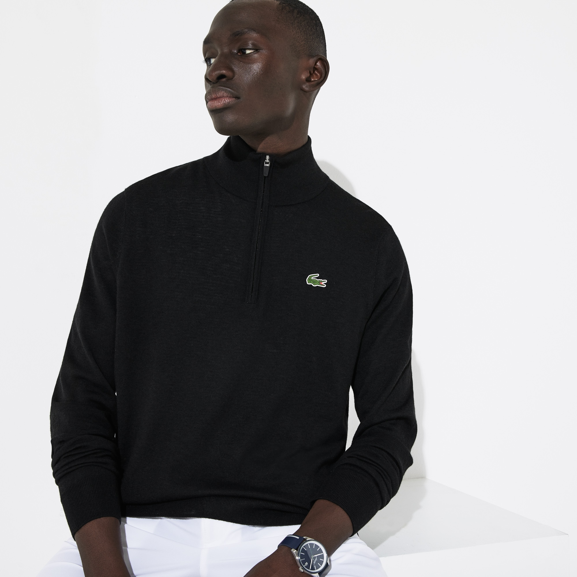 Men's Lacoste SPORT Solid Breathable Knit Zip Collar Golf Sweater