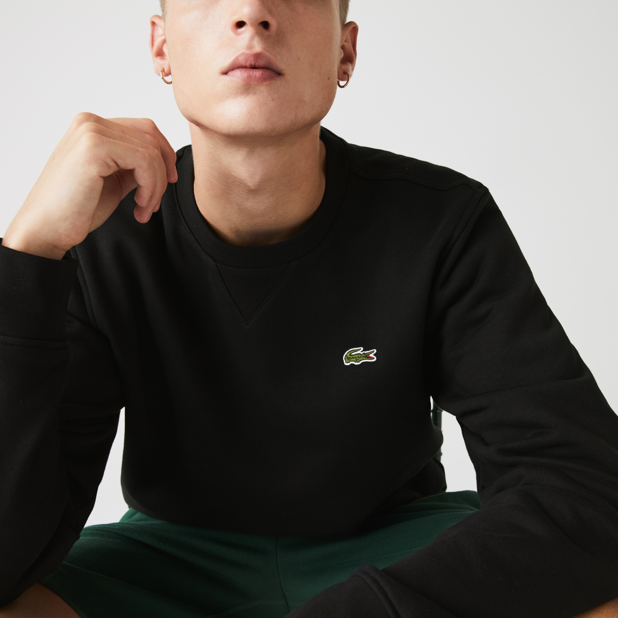 Men's Lacoste SPORT crew neck sweatshirt in solid fleece