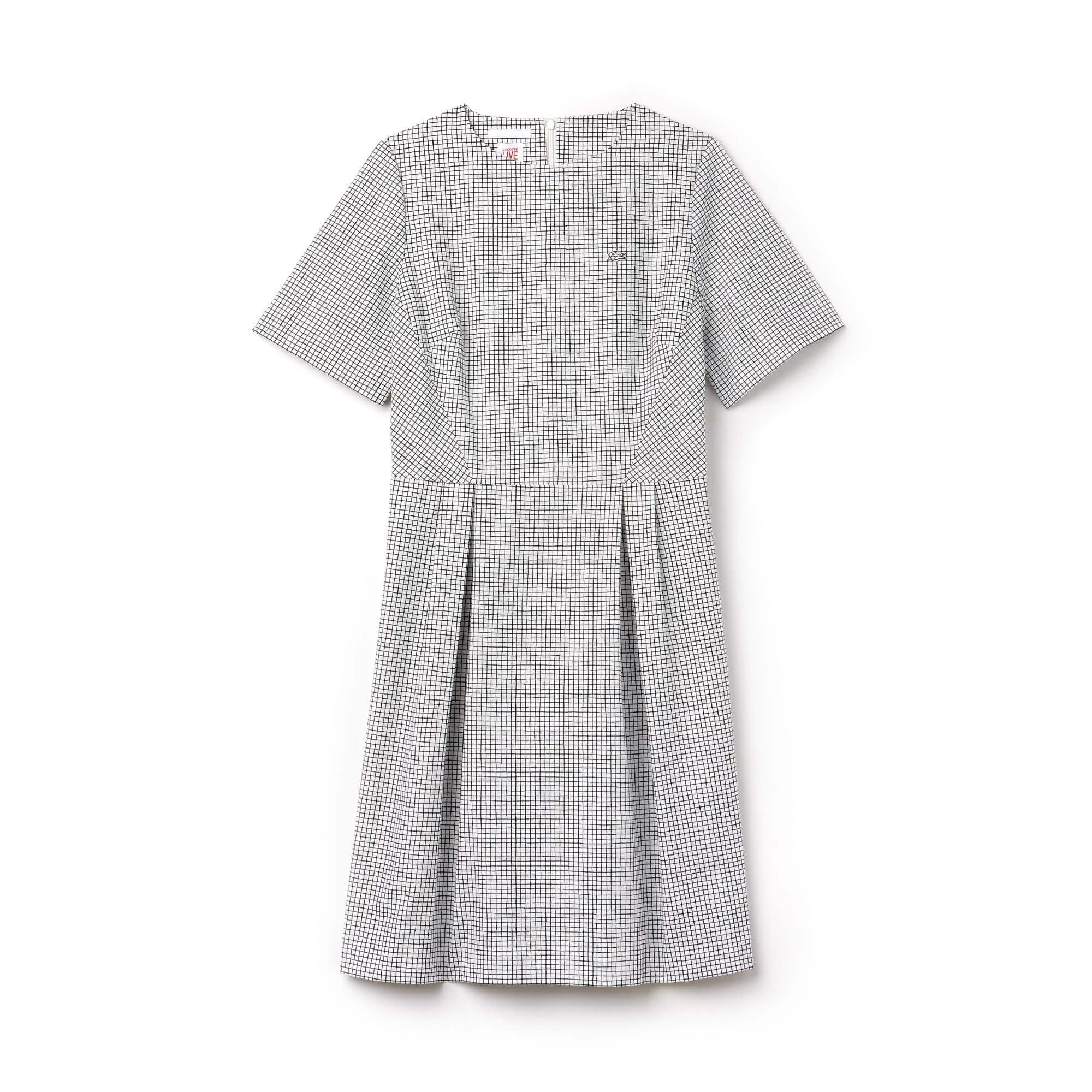 Women's Lacoste LIVE Pleated Mini Check Poplin A-Line Dress