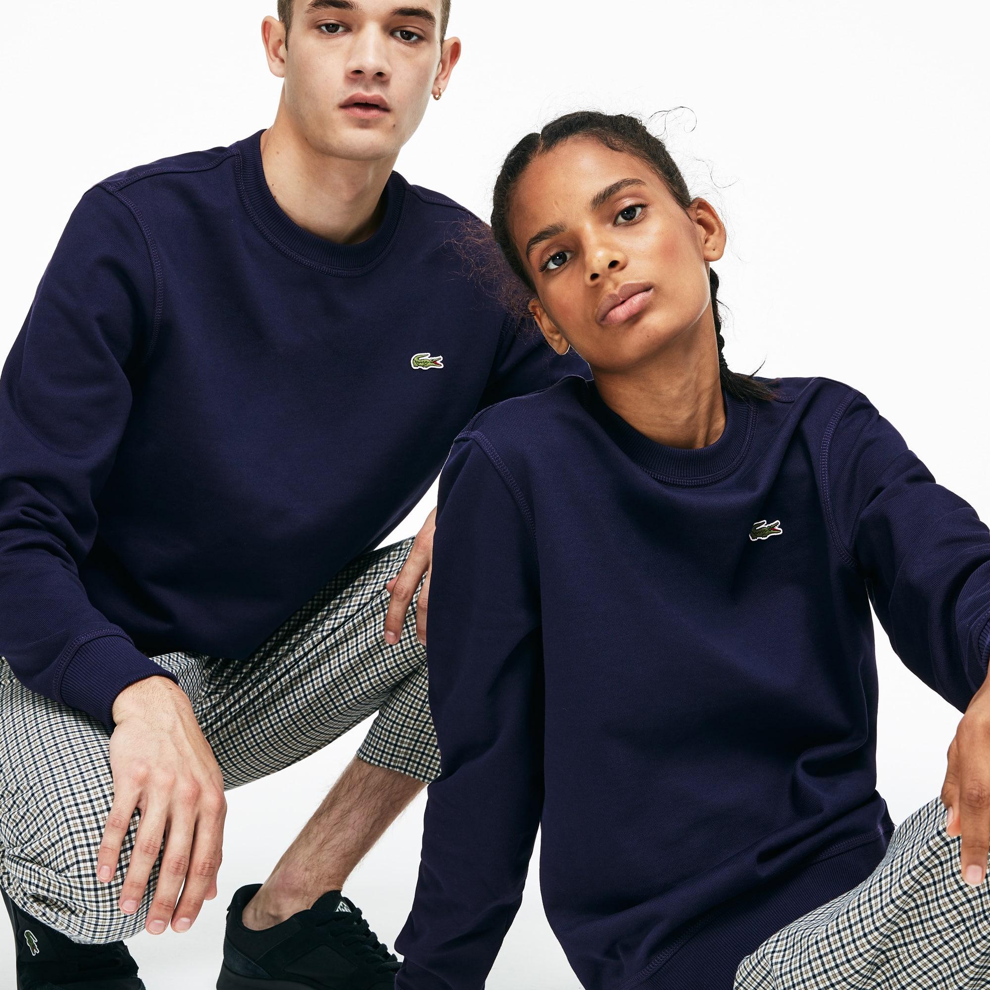 Unisex Lacoste LIVE Crew Neck Cotton Fleece Sweatshirt