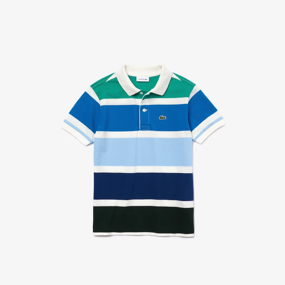 Boys' Lacoste Multicolour Striped Cotton Piqué Polo Shirt