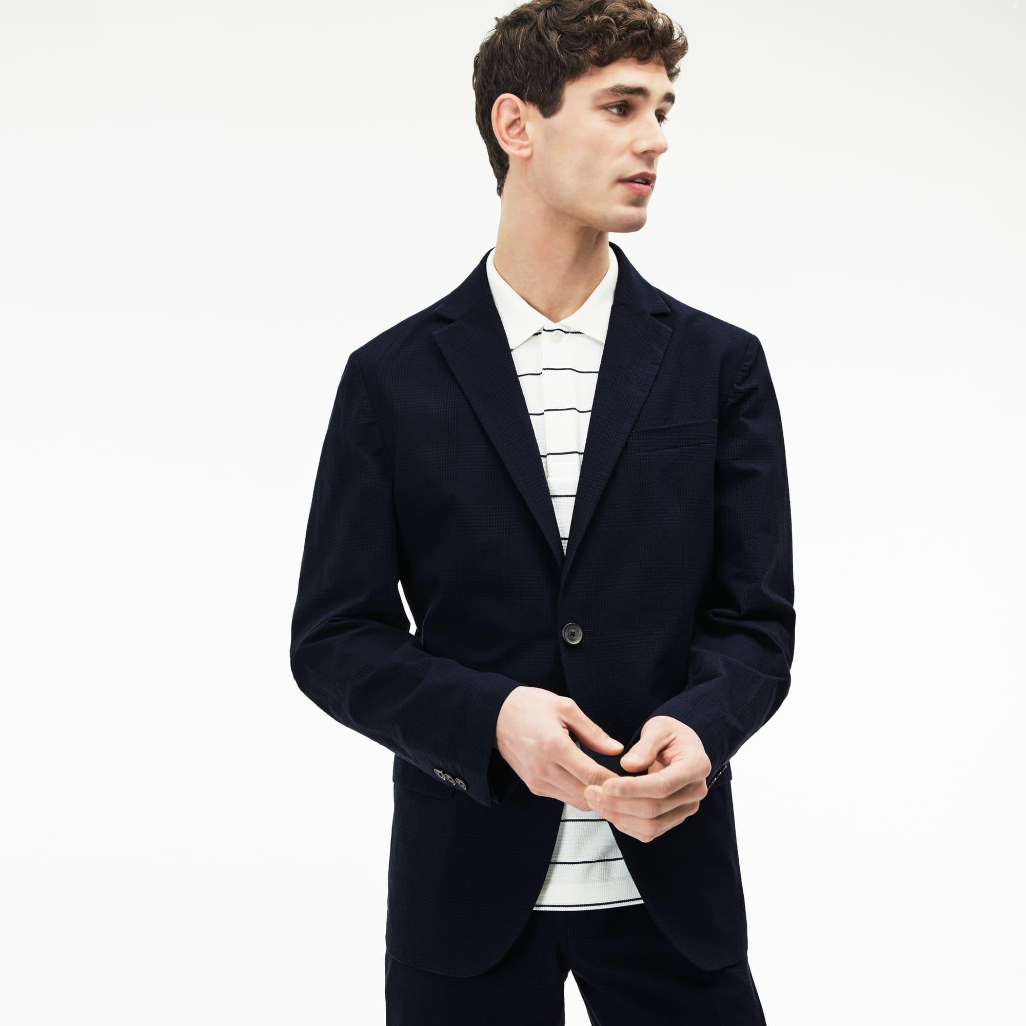 Men's Check Cotton Seersucker Blazer