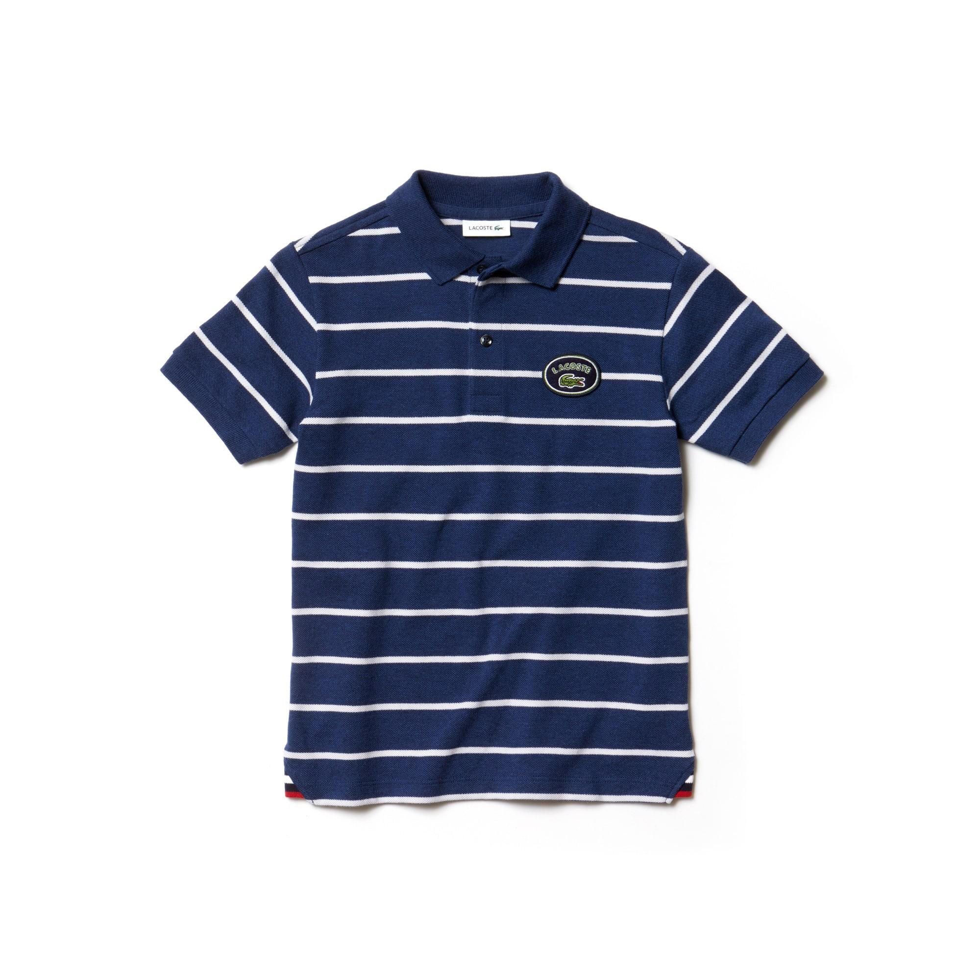 Boys' Lacoste Striped Cotton Piqué Polo Shirt