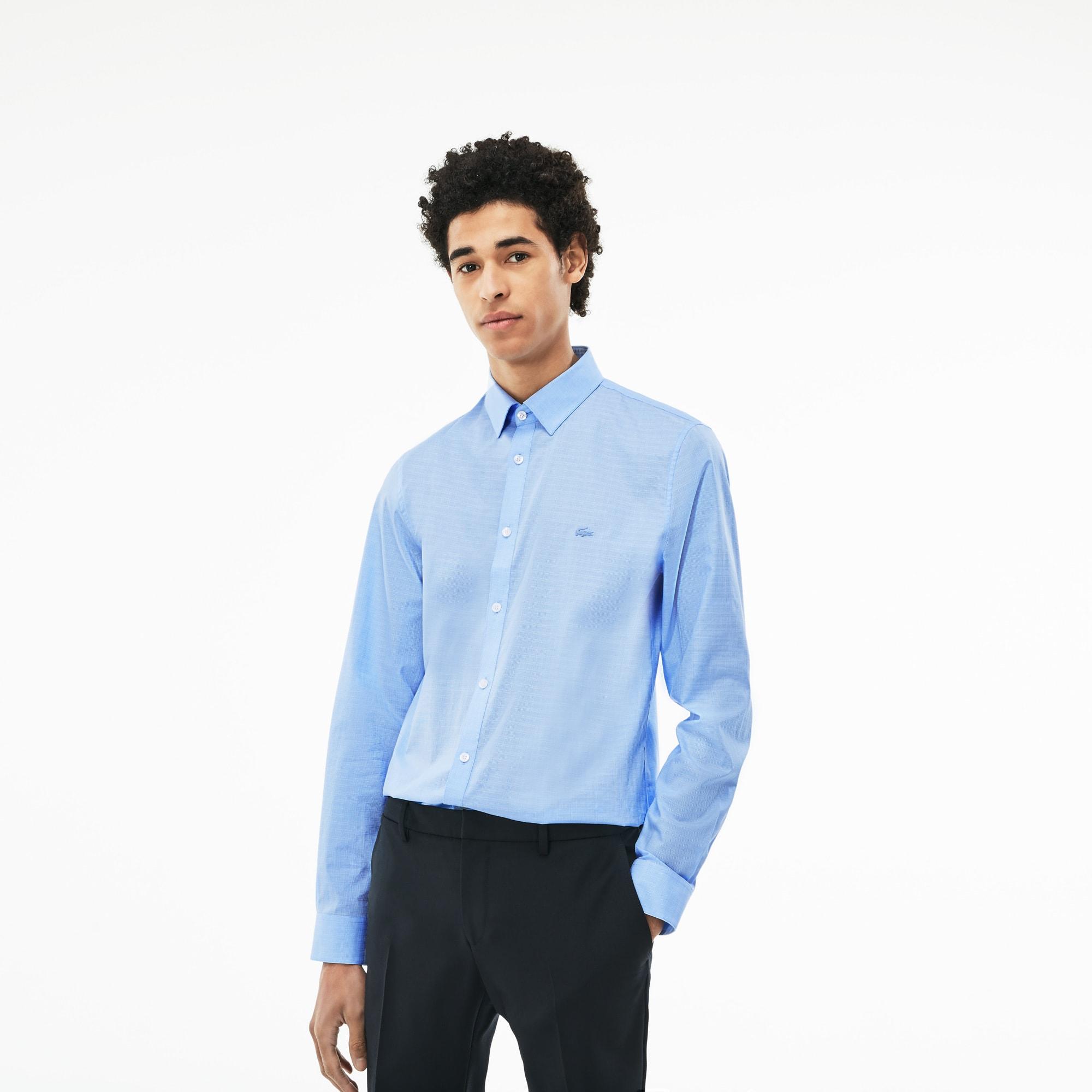 Men's Slim Fit Jacquard Cotton Poplin Shirt
