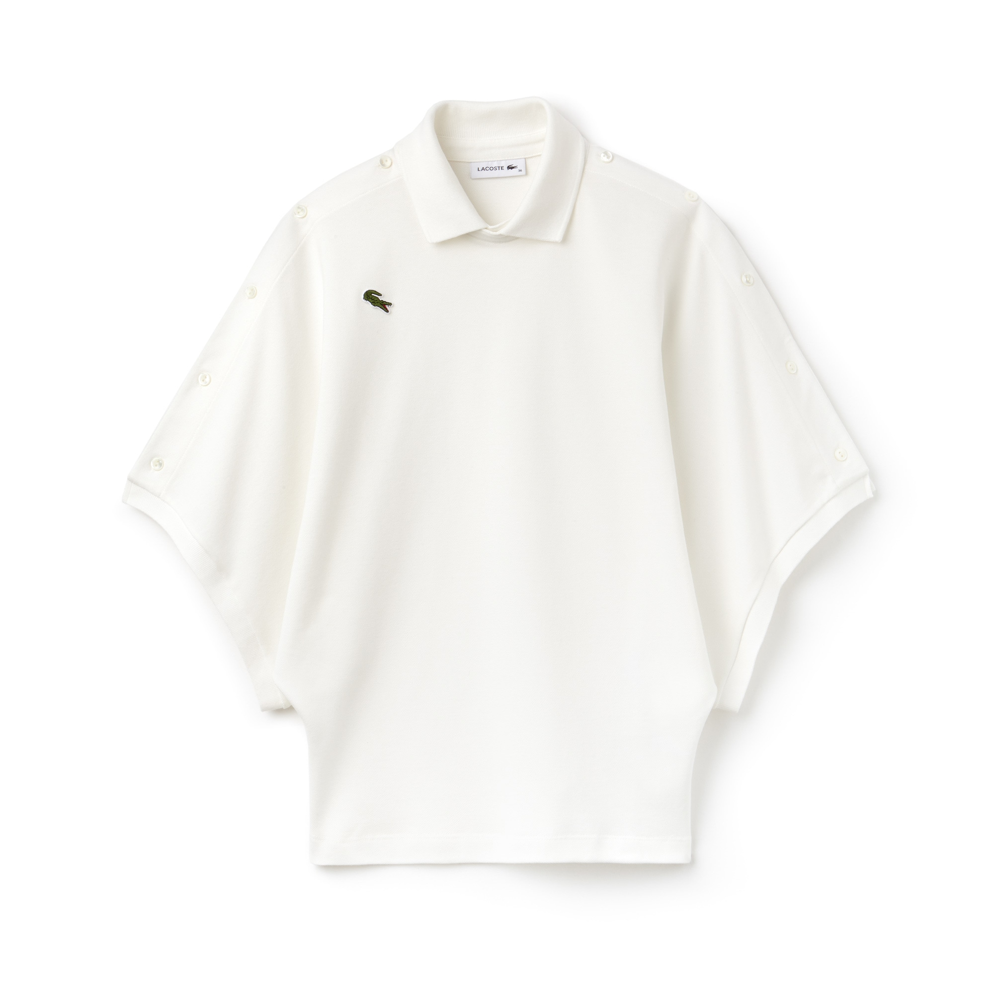 Women's Lacoste Fashion Show Loose Fit Buttoned Sleeves Cotton Piqué Polo