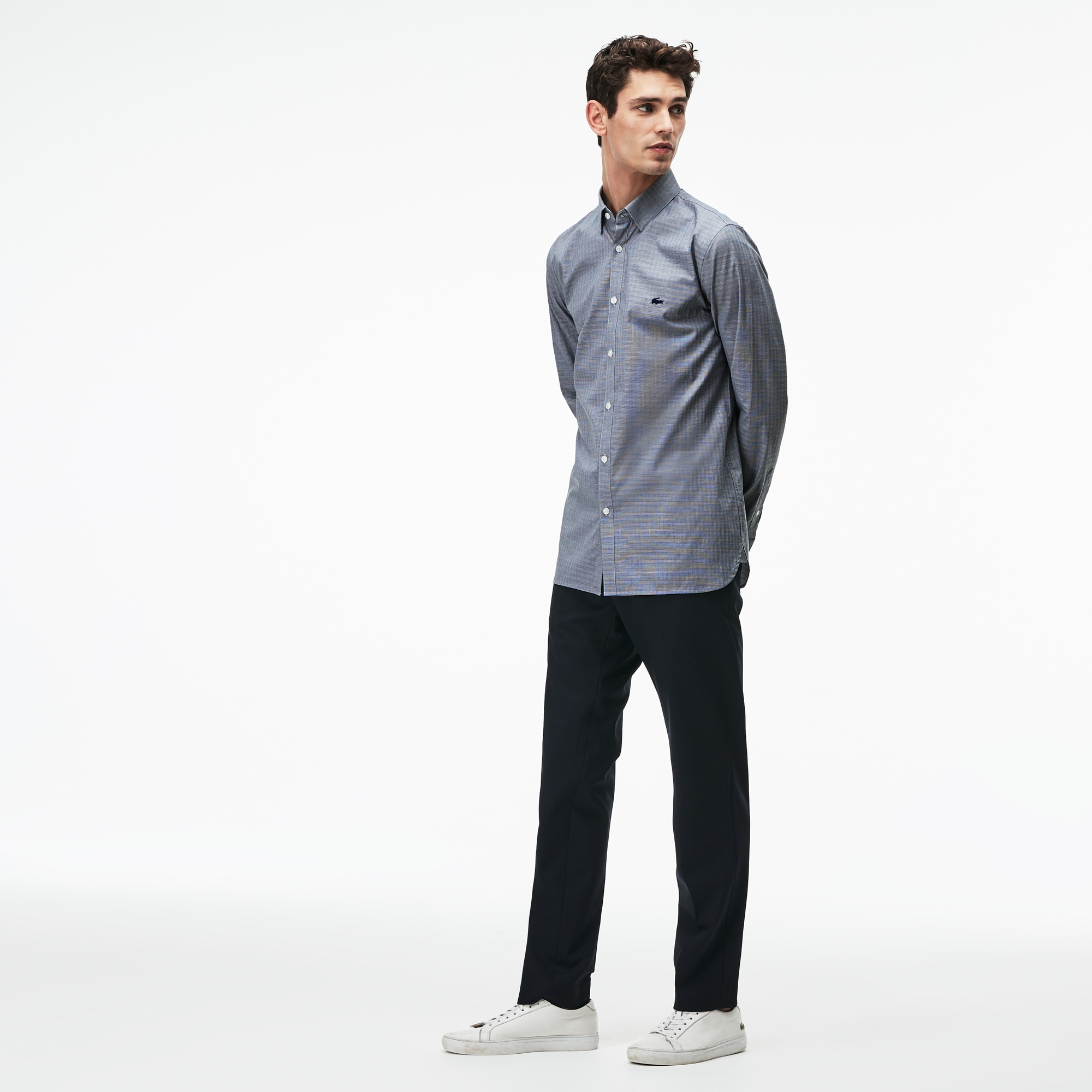 Men's Slim Fit Jacquard Cotton Poplin Shirt