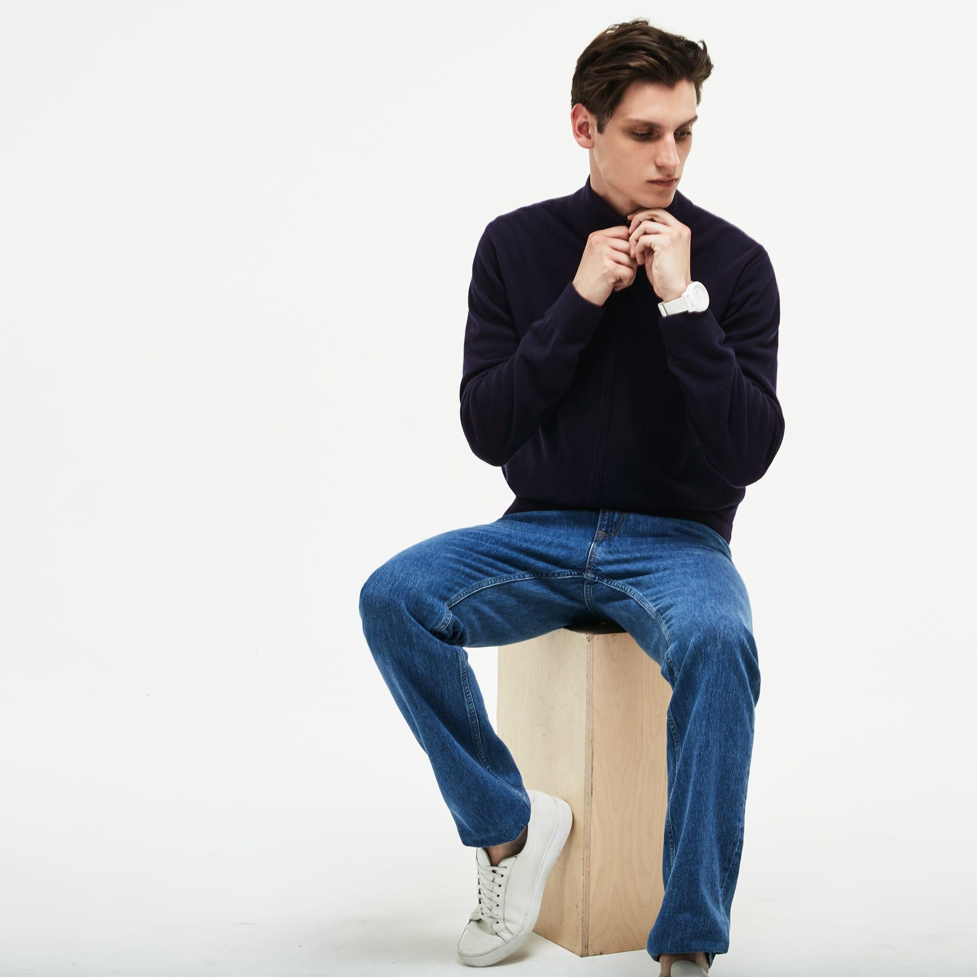 Men's Zippered Stand-Up Collar Wool Jersey Cardigan