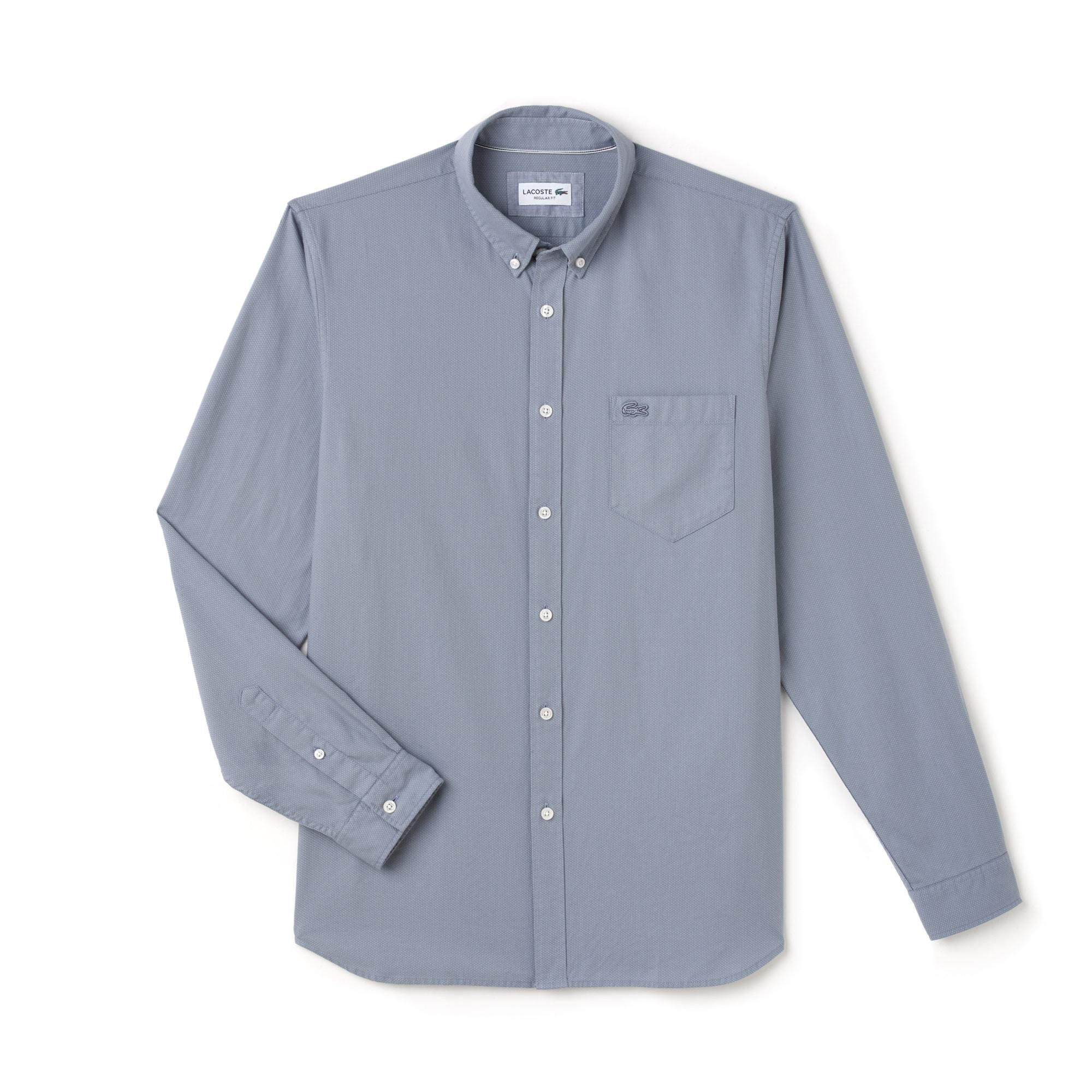 Men's Regular Fit Polka Dot Jacquard Poplin Shirt