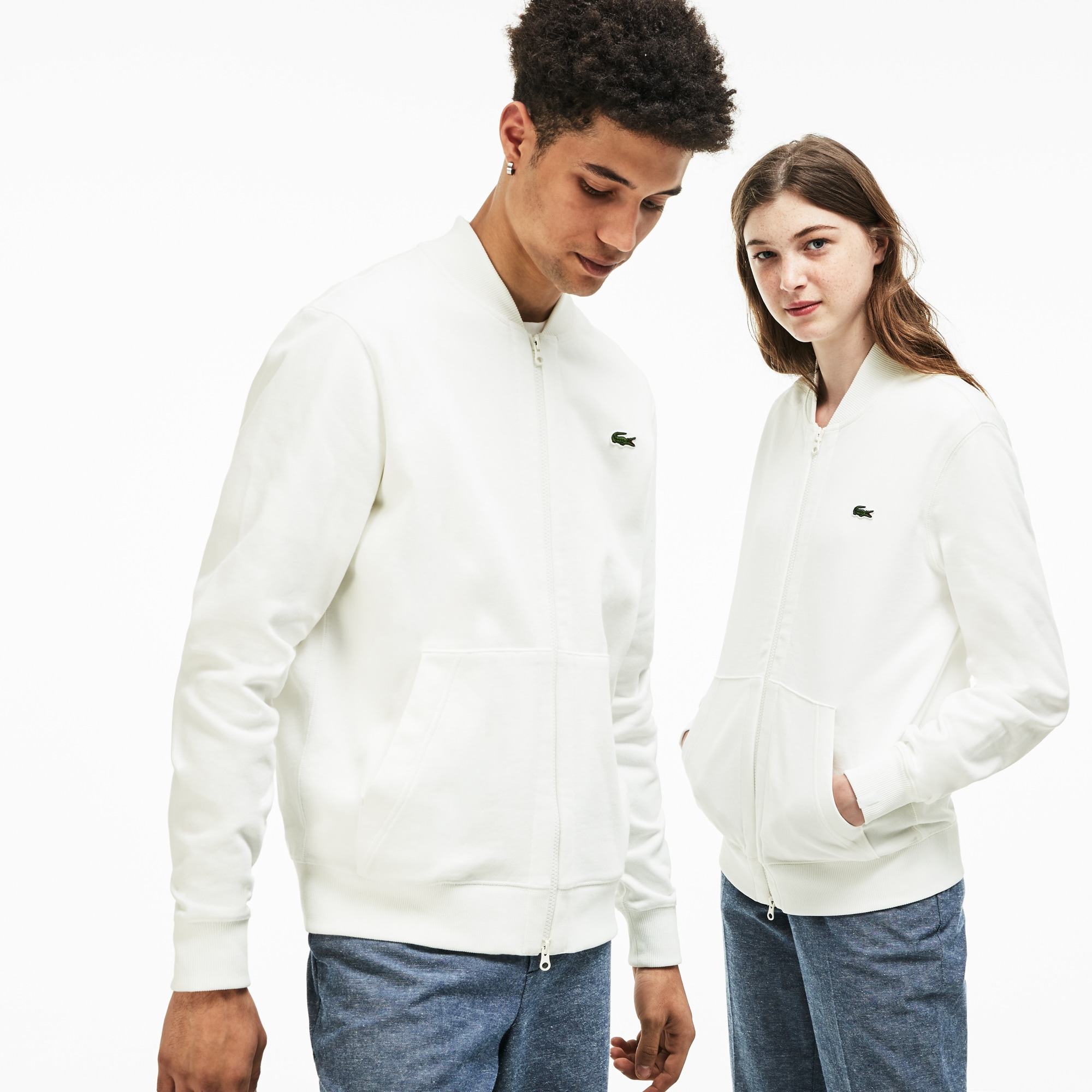 Unisex Lacoste LIVE Zip Bomber Neck Fleece Sweatshirt