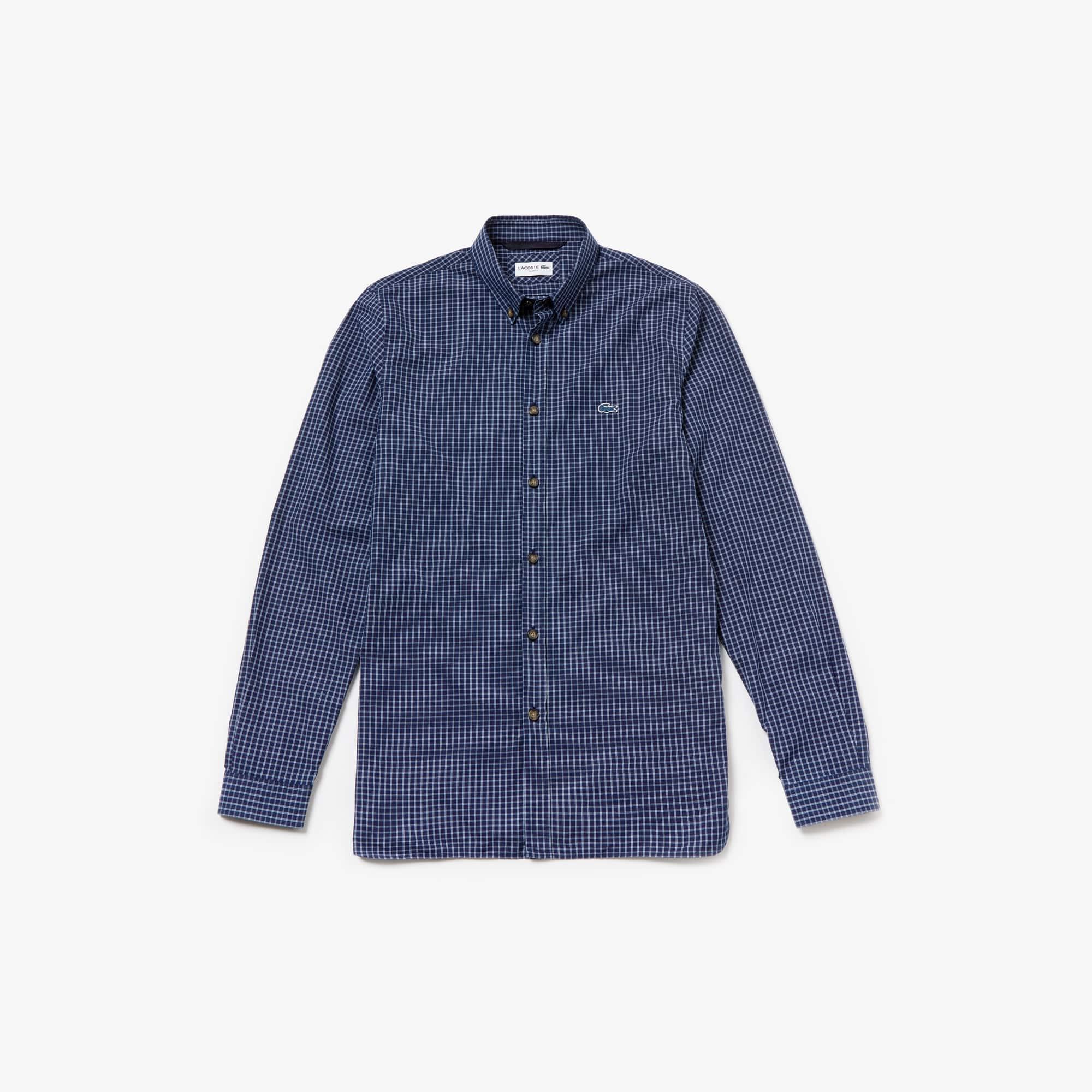 53b6acc82a Men's Slim Fit Check Cotton Poplin Shirt