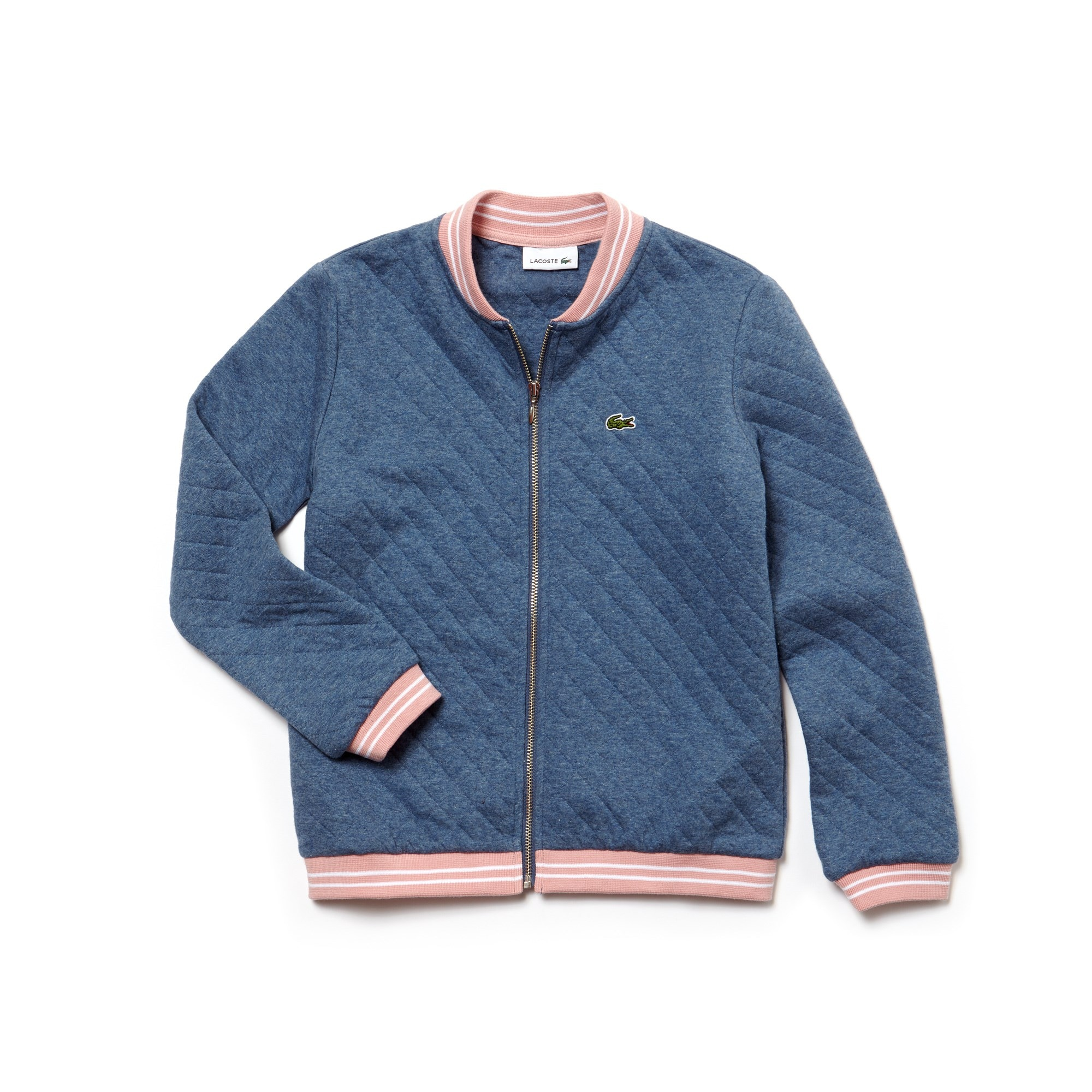 Girls' Teddy Neck Striped Finishes Quilted Cotton Sweatshirt