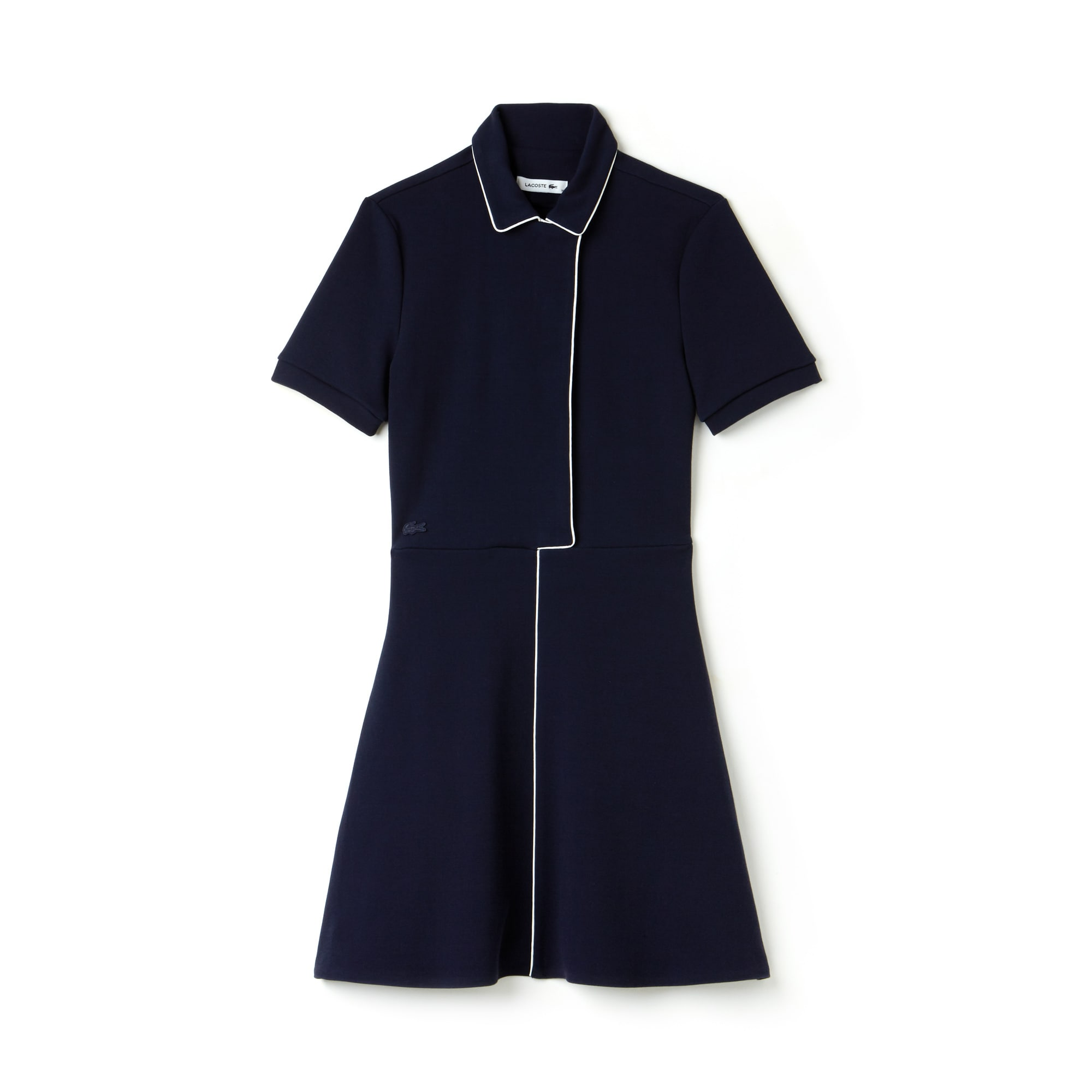 Women's Fitted Flared Piped Cotton Interlock Dress