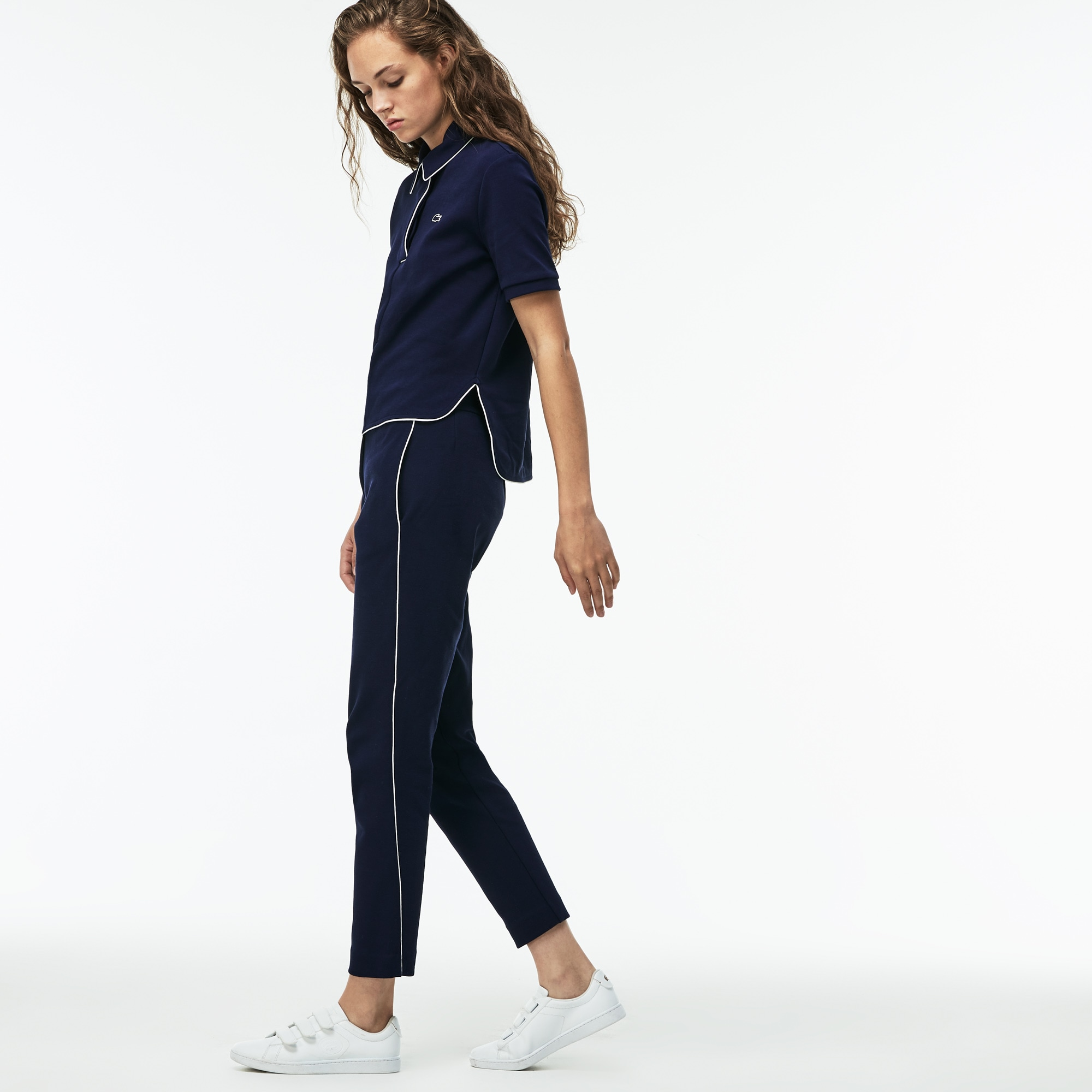 Women's Piped Cotton Crepe Interlock Carrot Pants