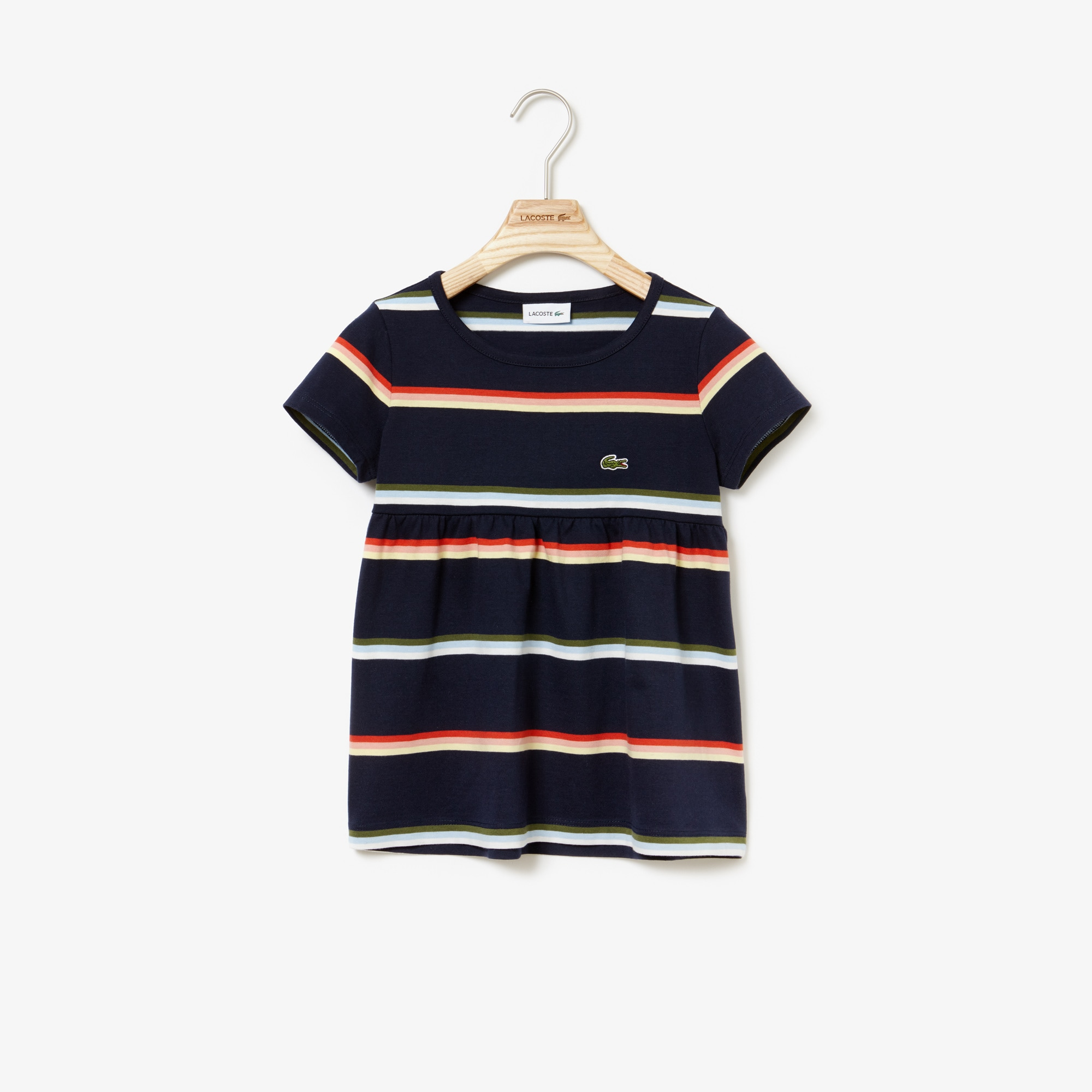 cef8ebcd37 Girls' Crew Neck Striped Cotton And Linen Jersey T-shirt