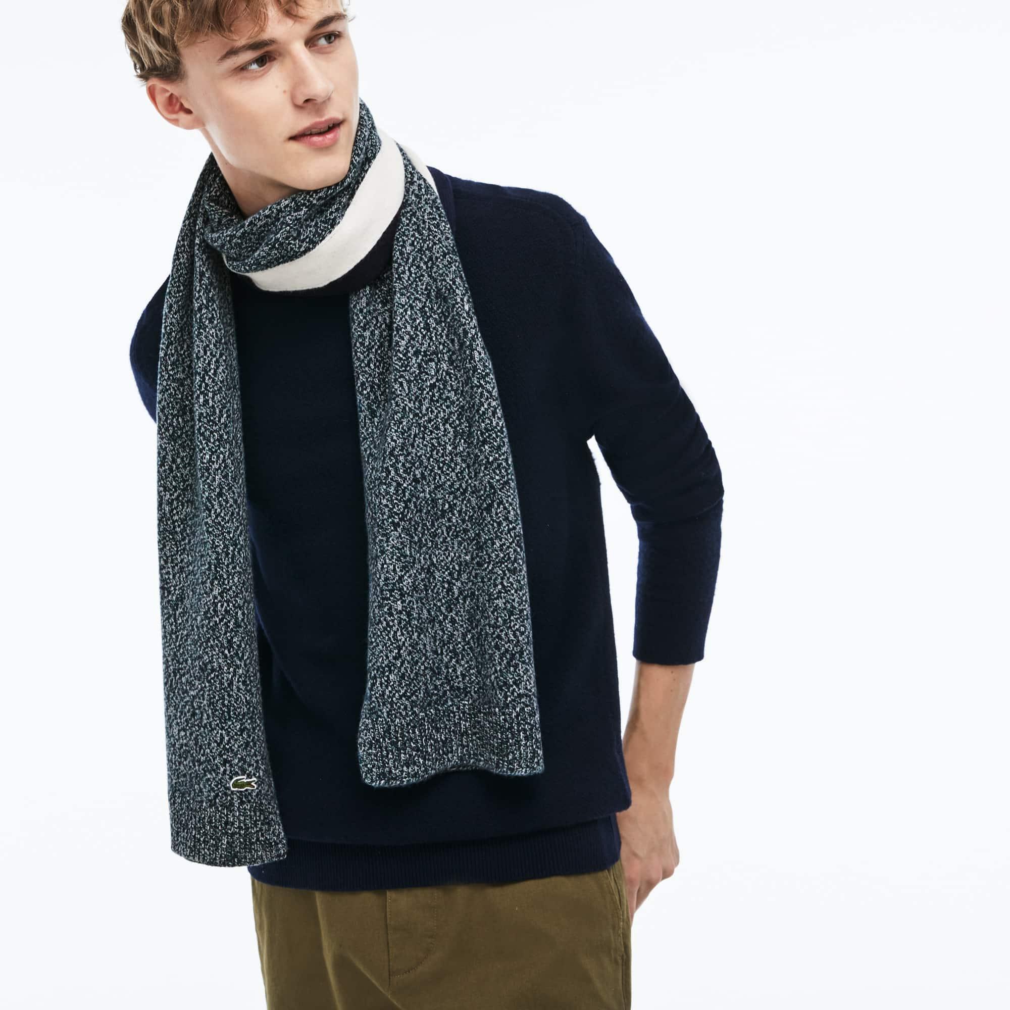 Men's Contrast Band Mouliné Wool Jersey Scarf