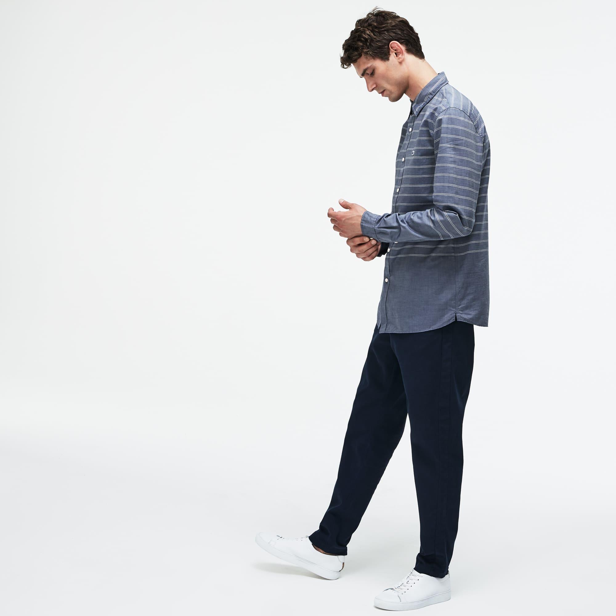 Lacoste - Camisa De Hombre Slim Fit En Popelín De Rayas - 2