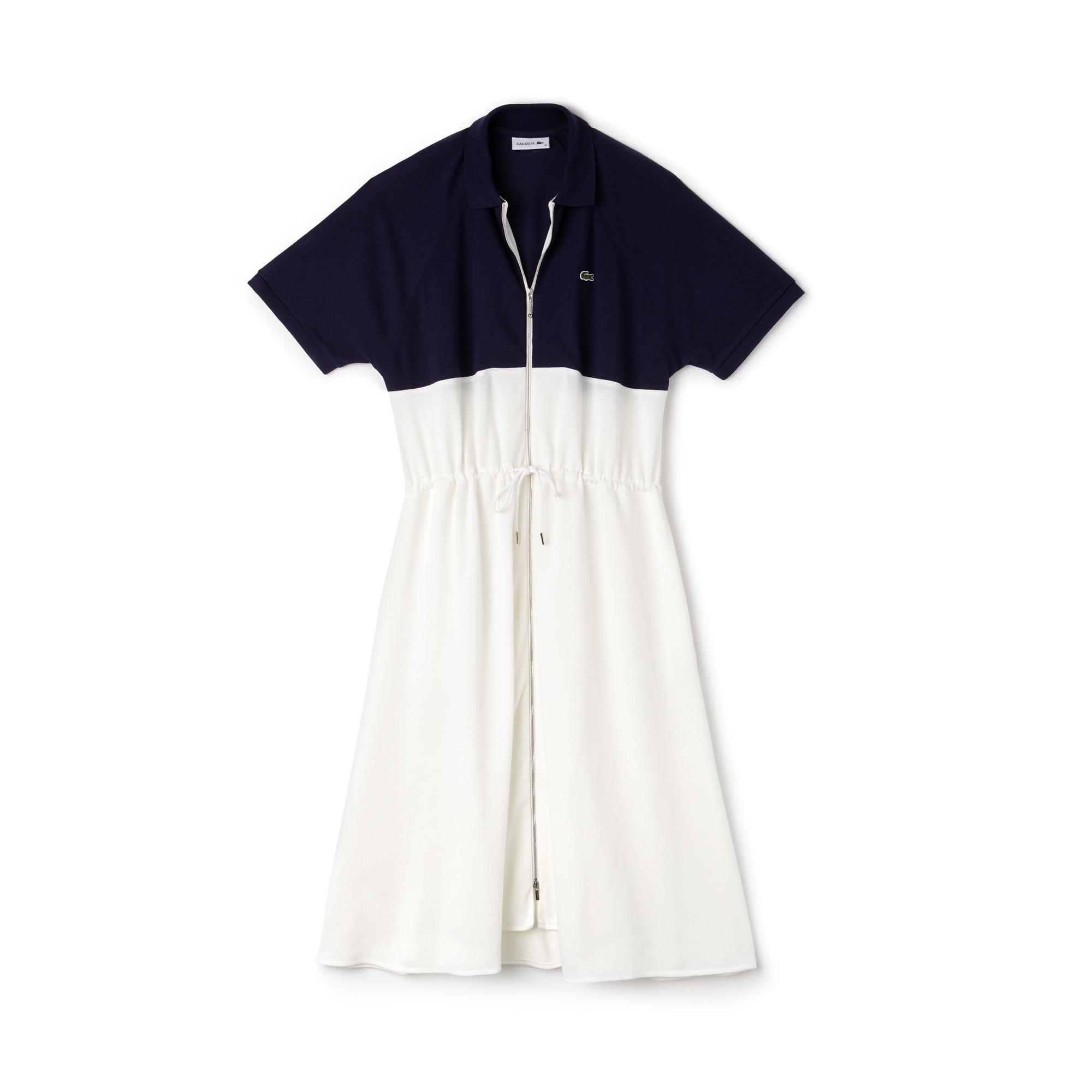 Vestido tipo polo Lacoste con cremallera en petit piqué de algodón color block