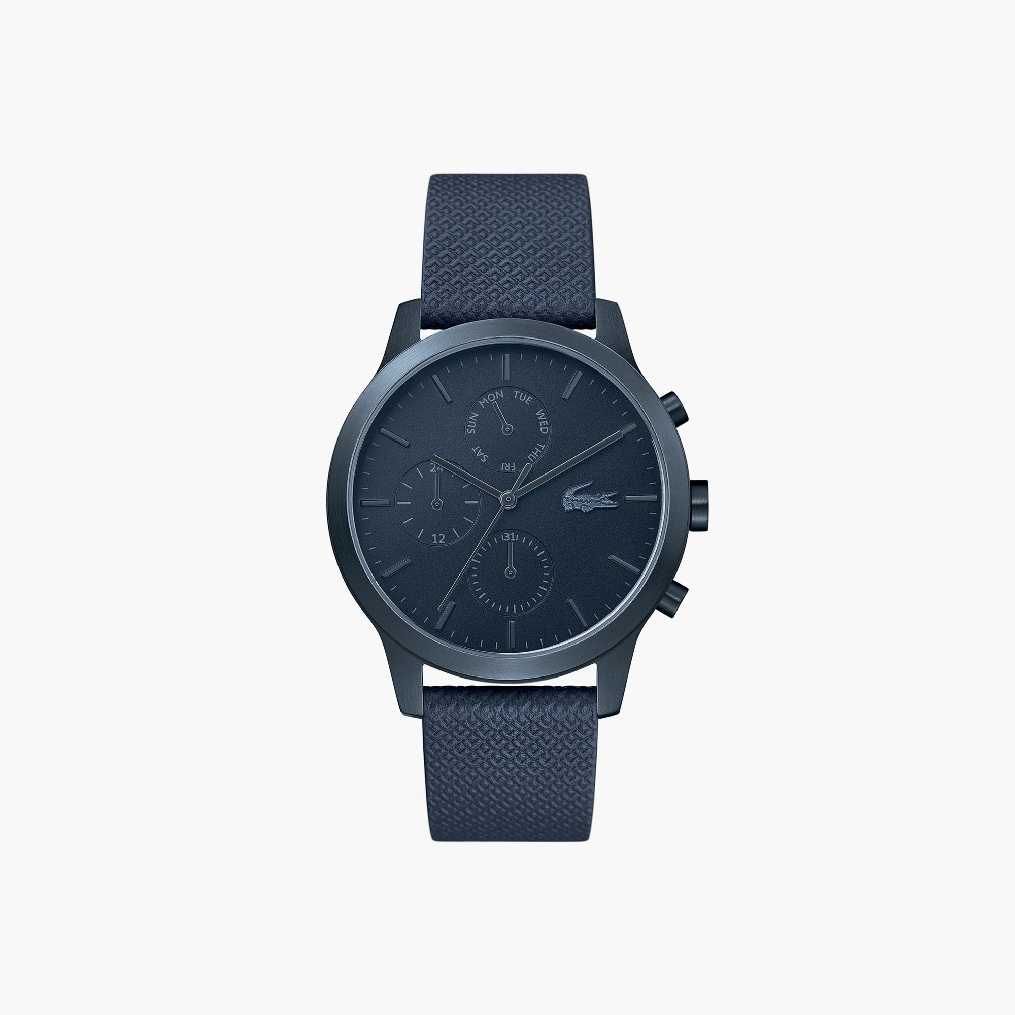 3d882ad535e2 Gents Lacoste.12.12 Watch with Blue Leather Petit Piqué Strap