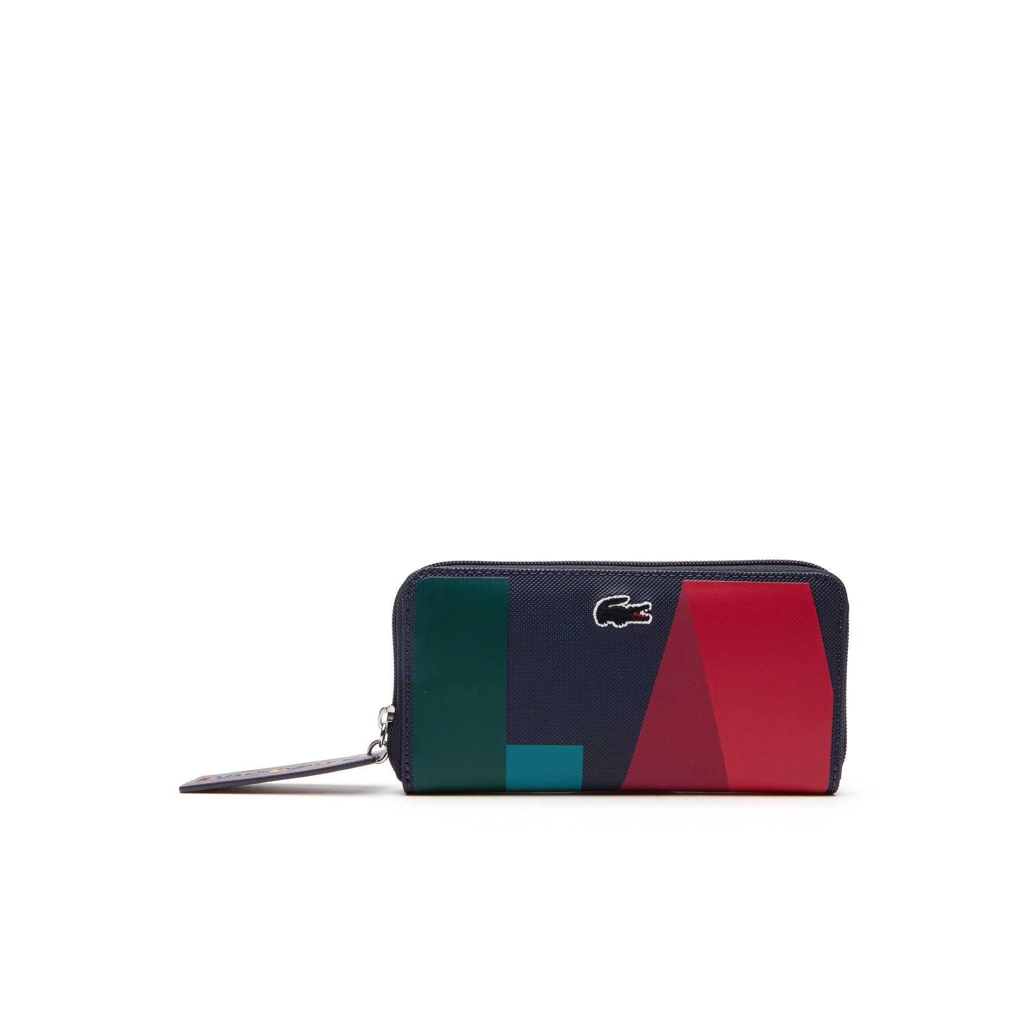 Billetera De Mujer L.12.12 Concept En Petit Piqué Color Block Con Cremallera