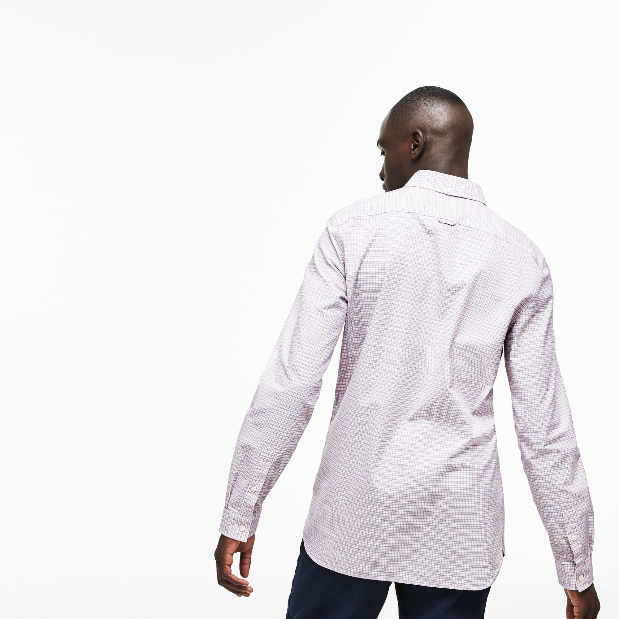 Lacoste - Camisa De Hombre Slim Fit En Algodón Oxford Elástico De Cuadros - 3