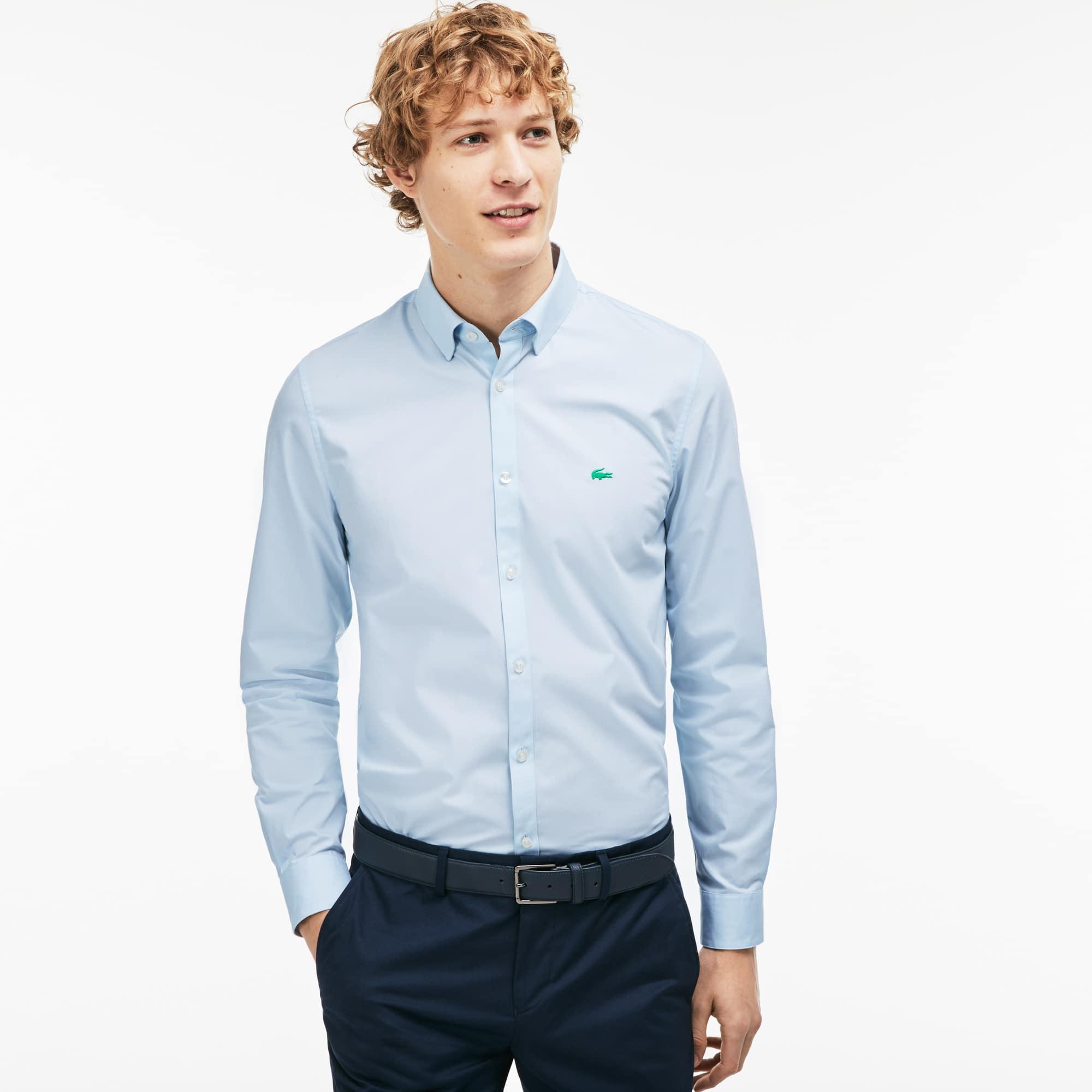 Camisa slim fit de popelín jacquard de rayas