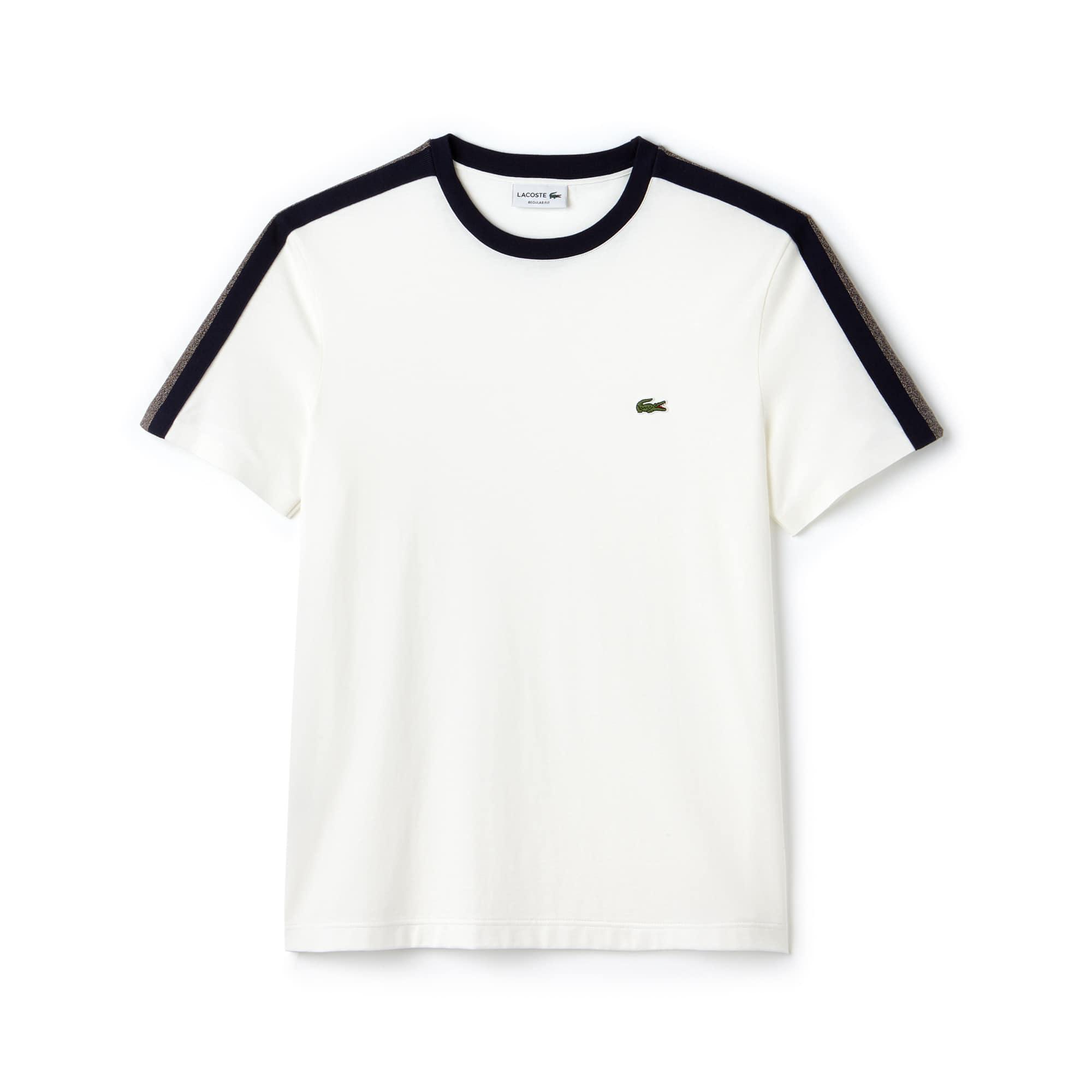Camiseta De Hombre En Tejido De Punto Con Franjas A Contraste Y Cuello Redondo
