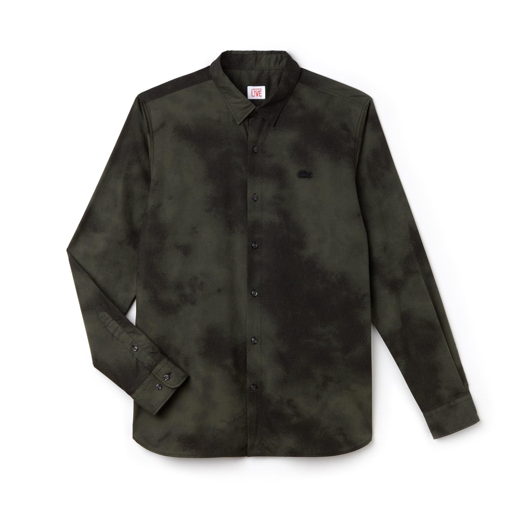 Camisa De Hombre Lacoste LIVE Skinny Fit En Popelín Con Estampado De Nubes