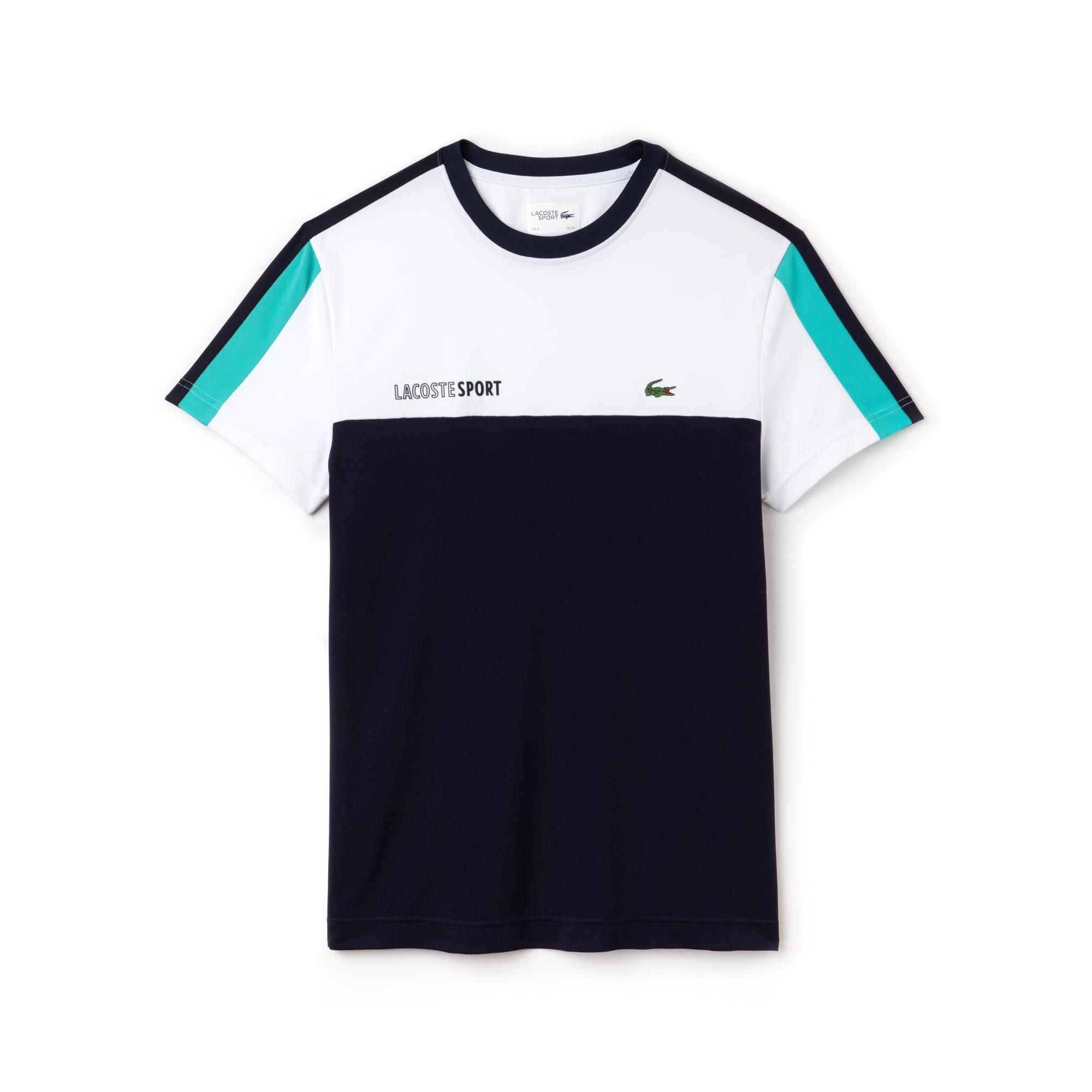 Camiseta De Hombre Lacoste SPORT Tennis En Piqué Color Block Con Cuello Redondo