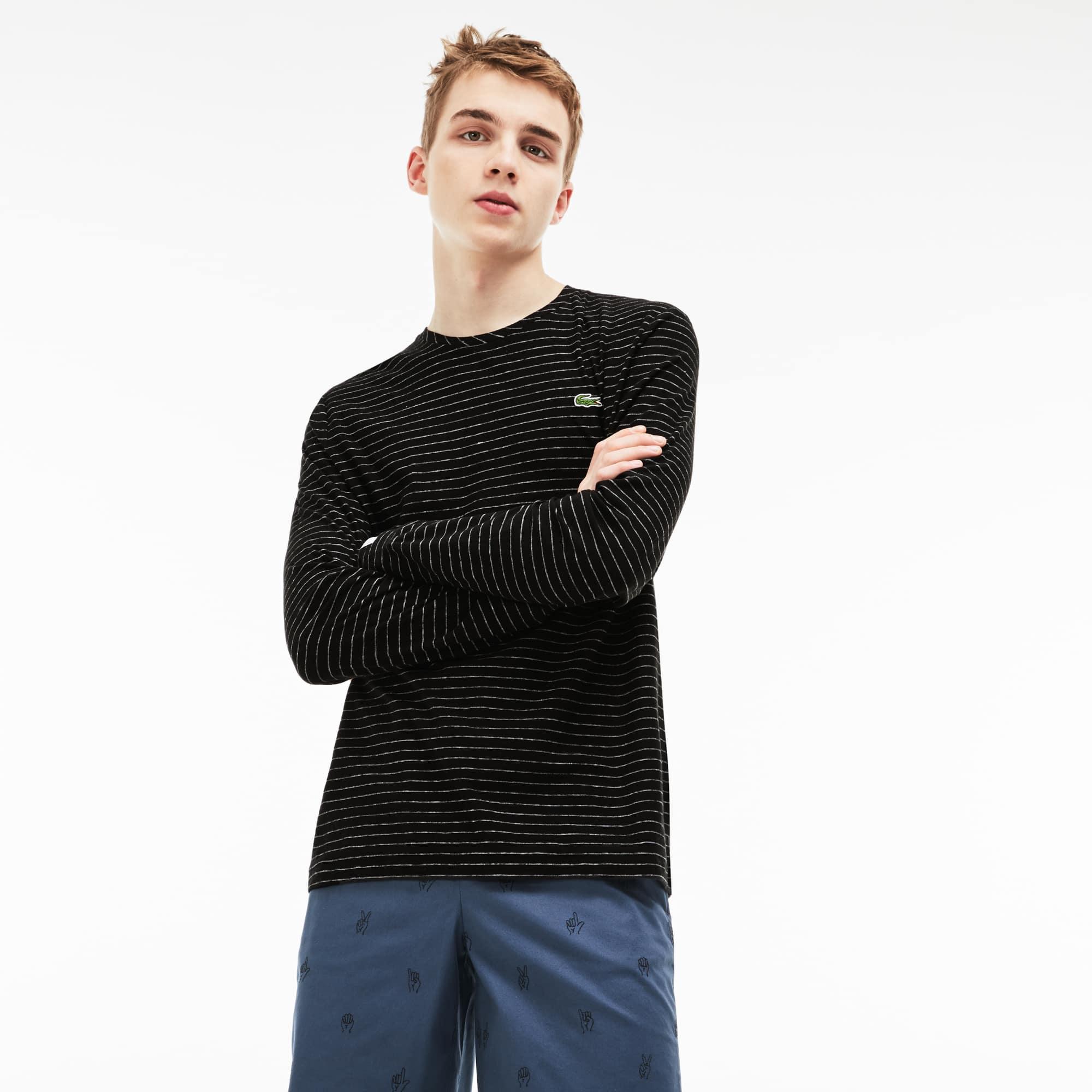 Camiseta de manga larga Lacoste LIVE de punto jersey de algodón y lino de rayas